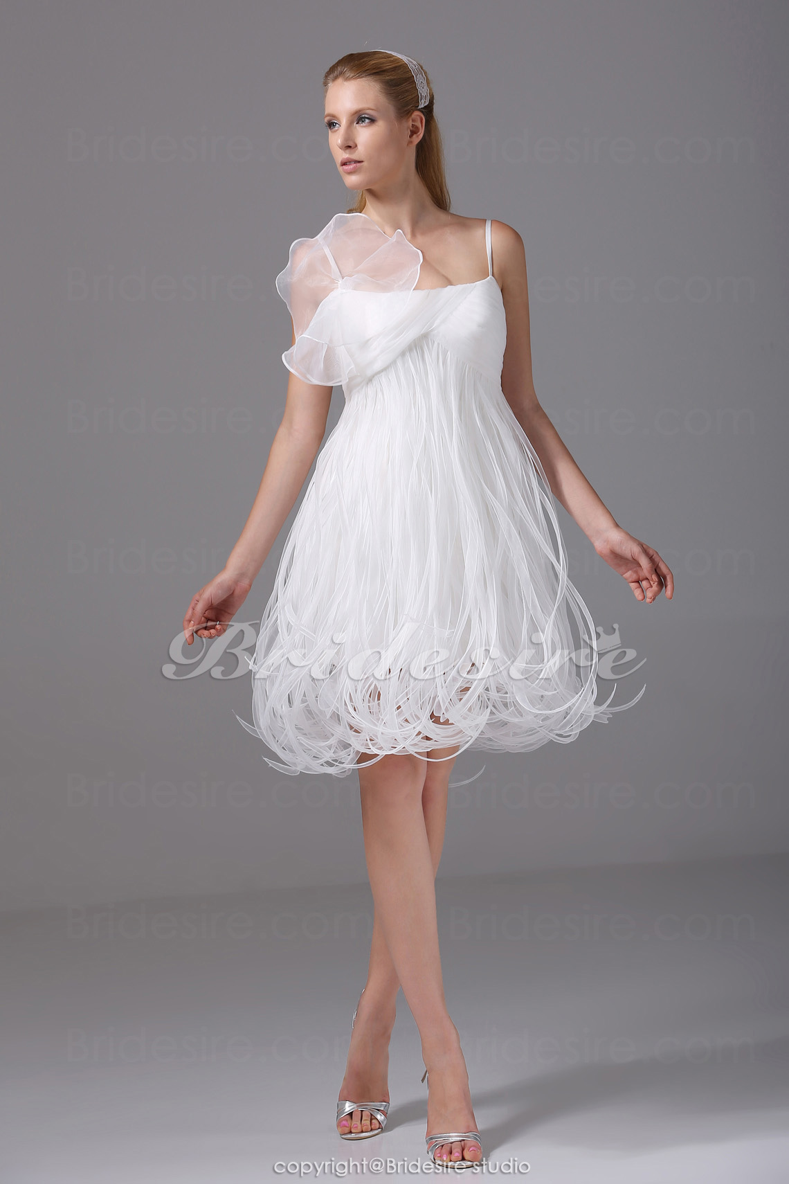 A-line Spaghetti Straps Short/Mini Sleeveless Organza Dress