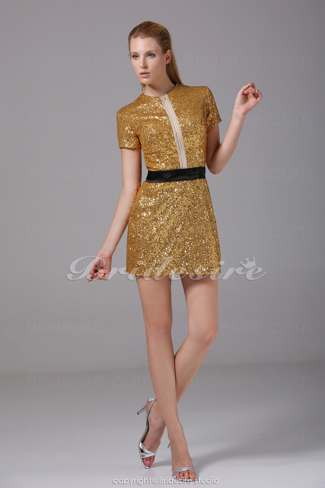 Sheath/Column Scoop Short/Mini Short Sleeve Sequined Satin Dress