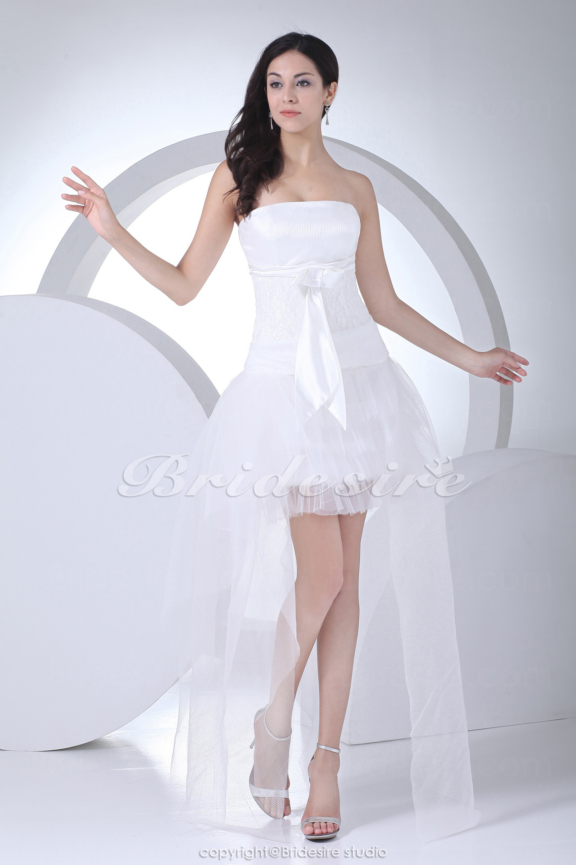 A-line Strapless Asymmetrical Short/Mini Sleeveless Stretch Satin Lace Organza Wedding Dress