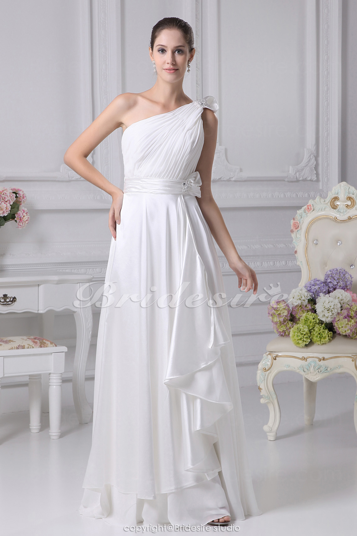 One Shoulder Floor-length Sleeveless Chiffon Stretch Satin Wedding Dress