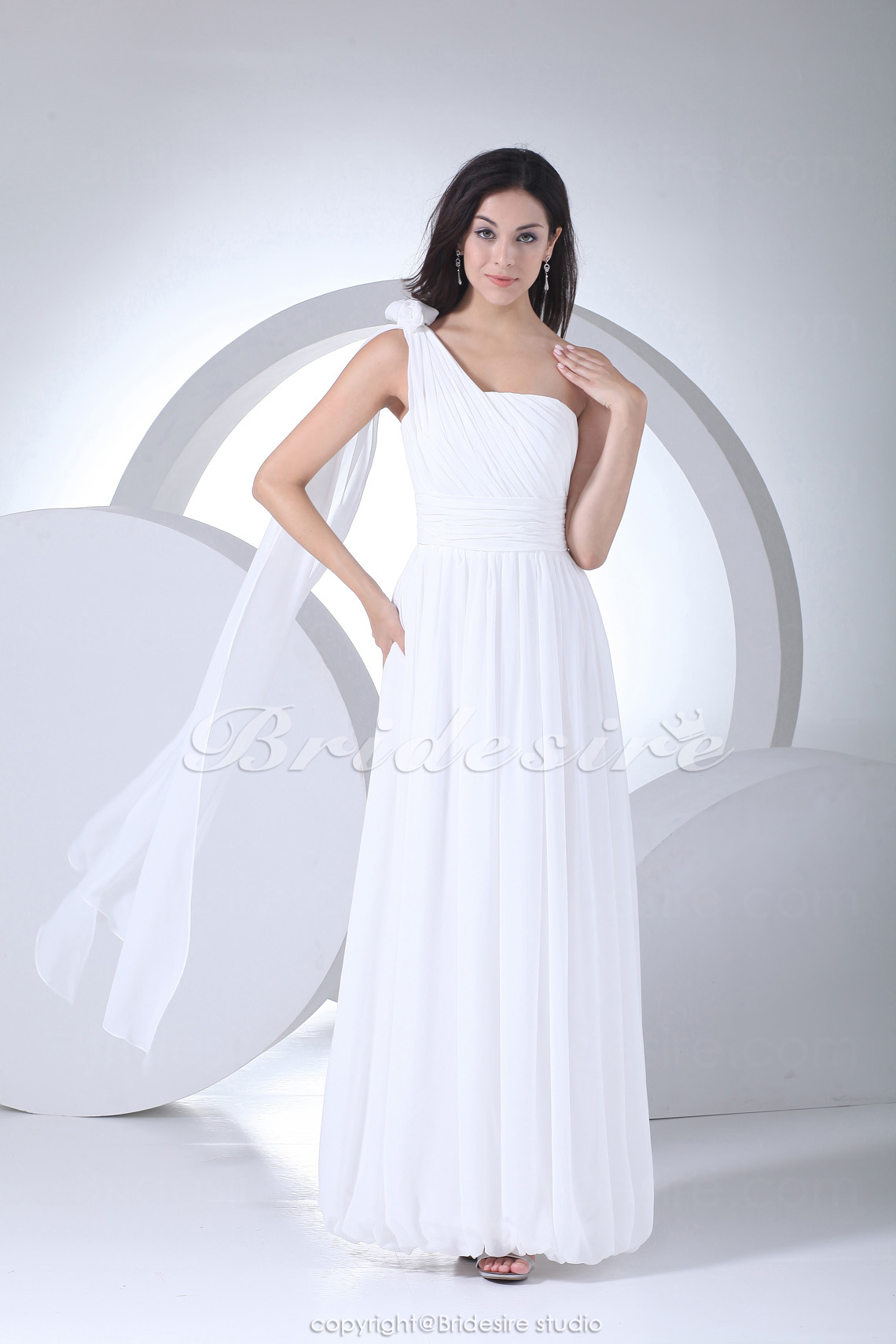 Sheath/Column One Shoulder Floor-length Sleeveless Chiffon Wedding Dress