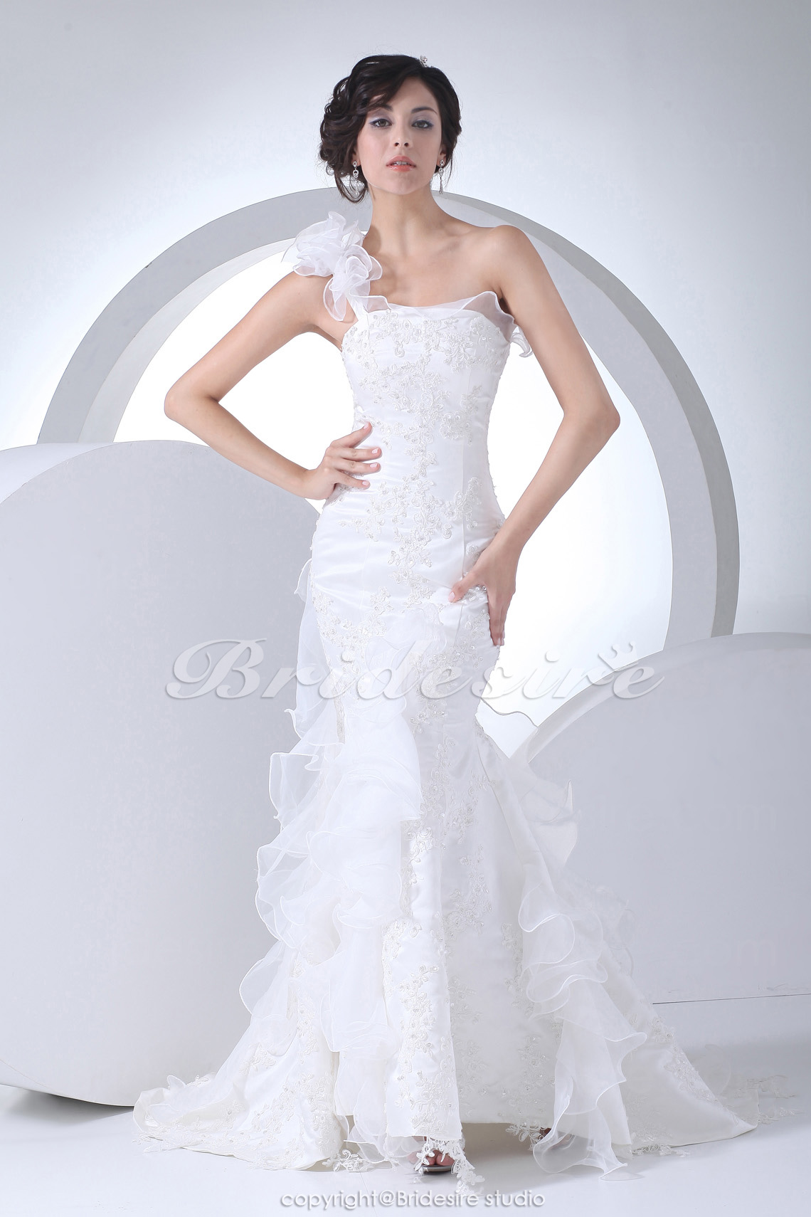 Trumpet/Mermaid One Shoulder Sweep Train Sleeveless Satin Organza Wedding Dress