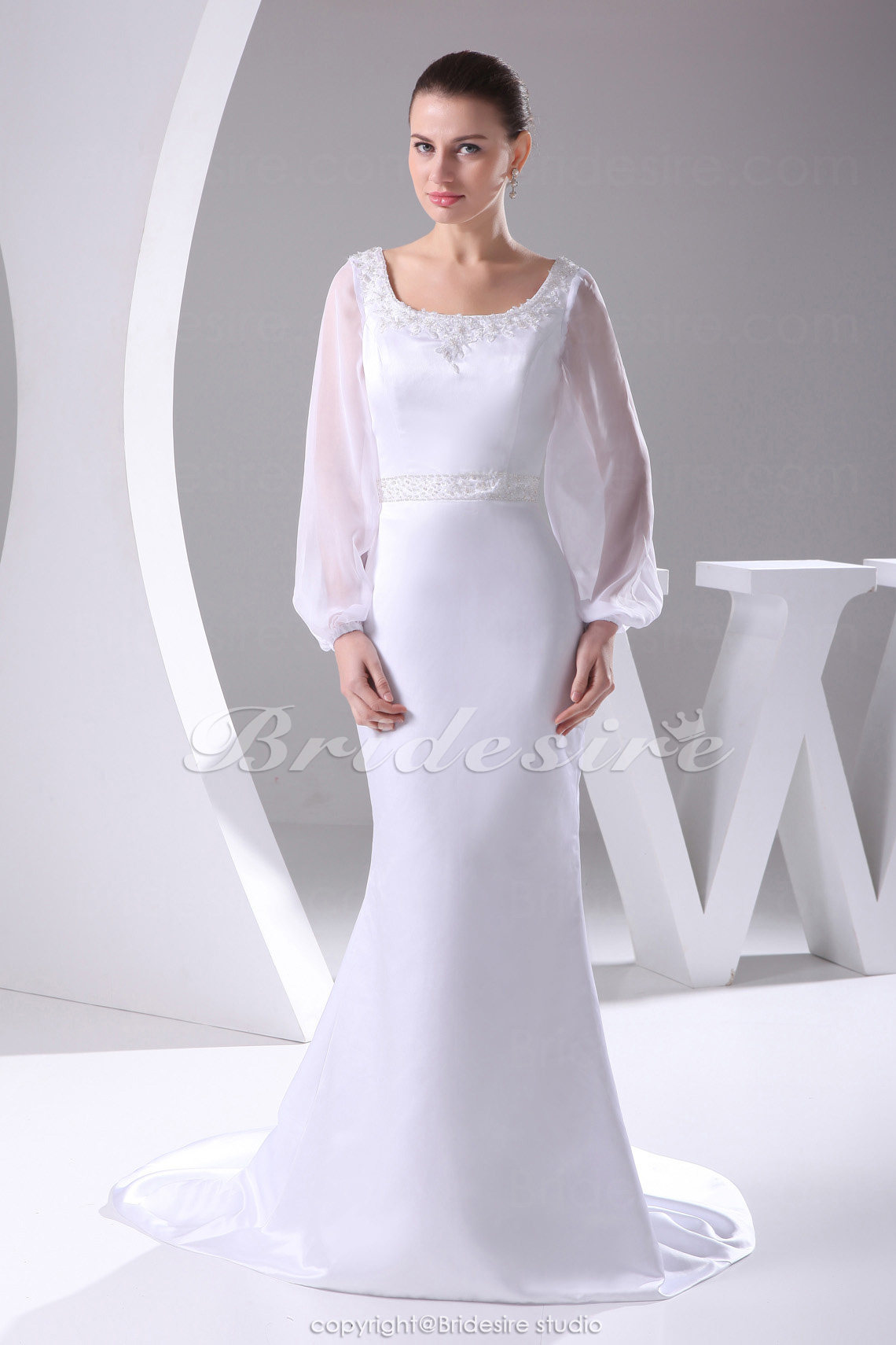 Trumpet/Mermaid Scoop Court Train Long Sleeve Satin Chiffon Wedding Dress
