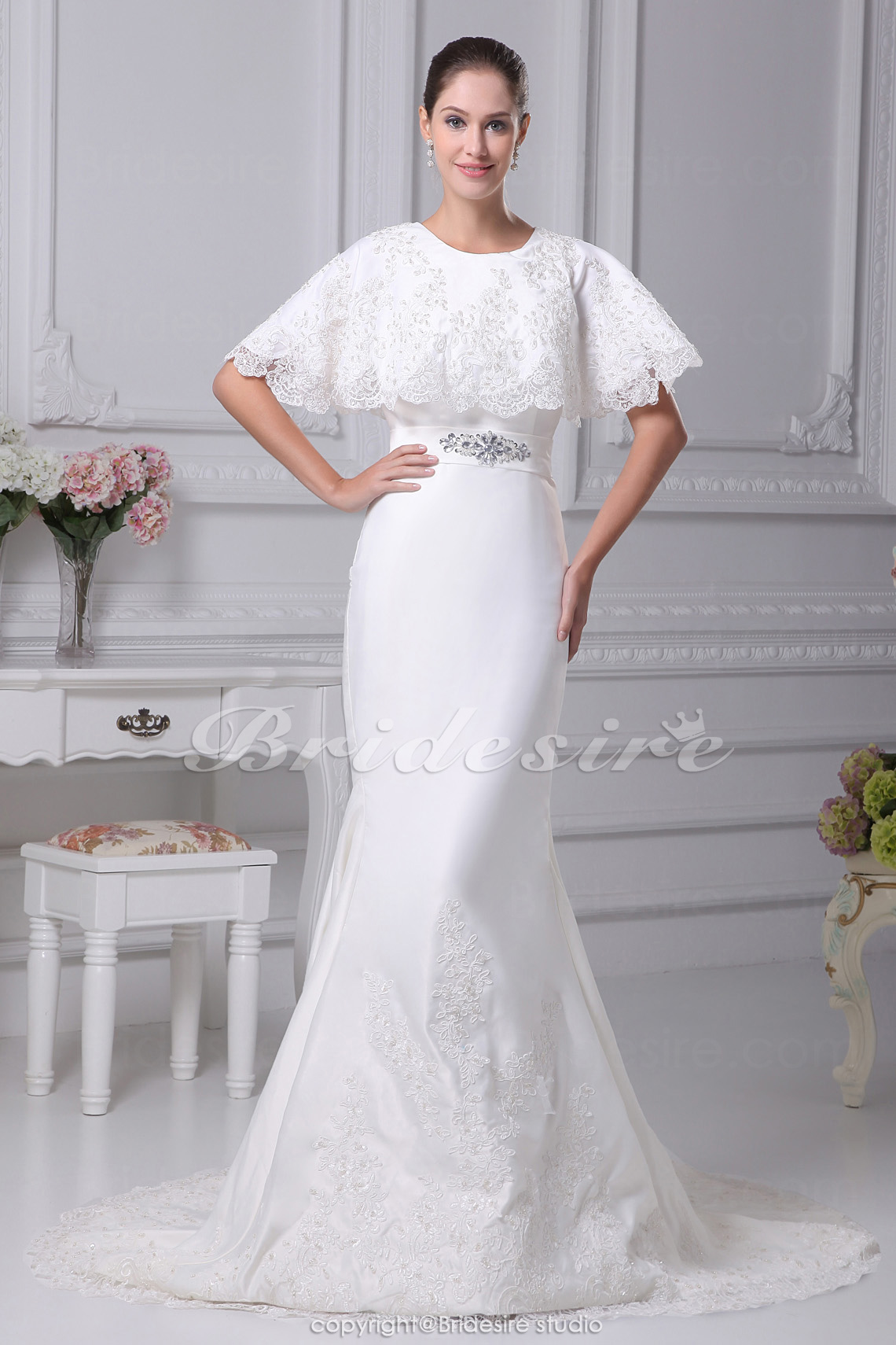 Trumpet/Mermaid Scoop Court Train Half Sleeve Satin Wedding Dress