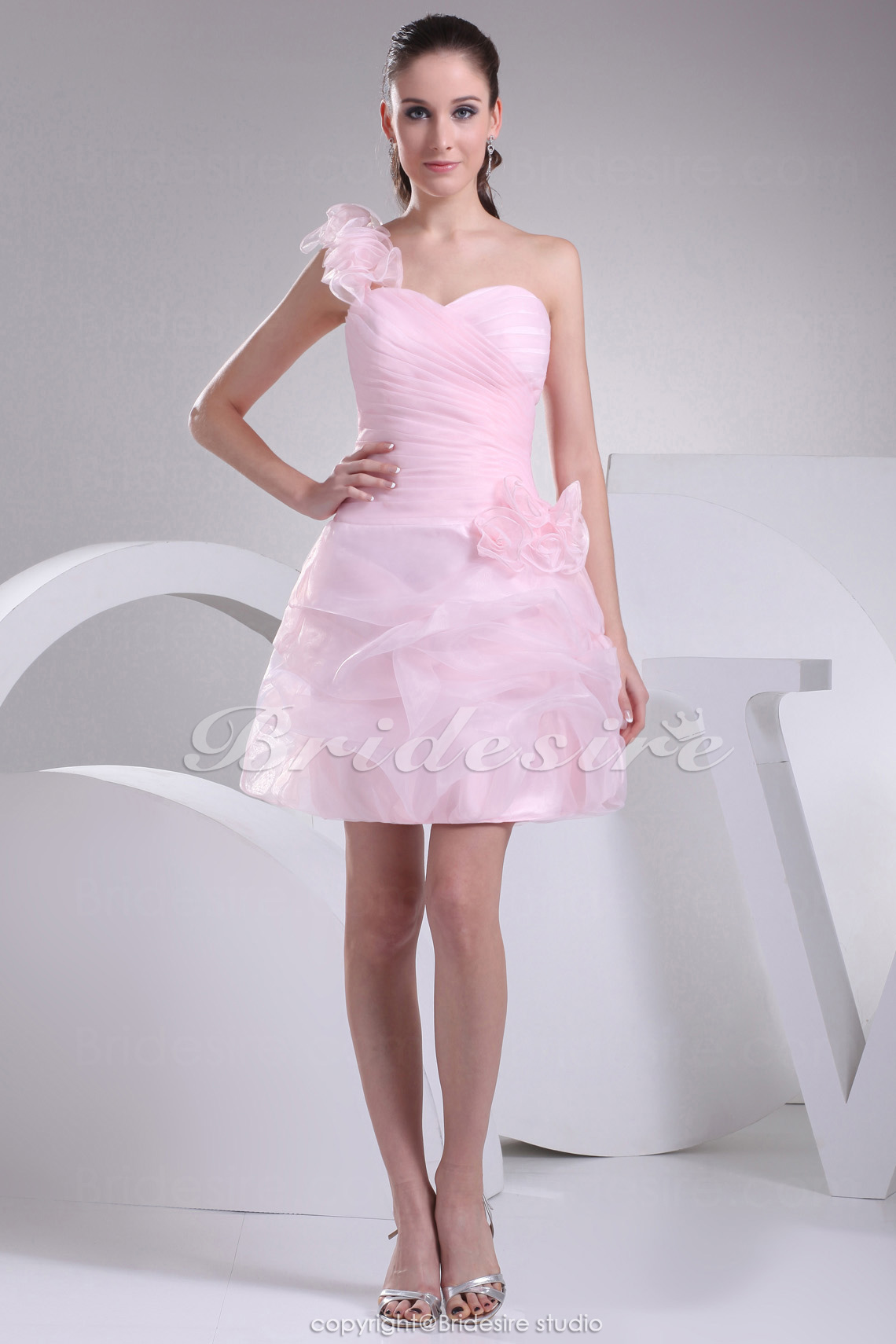 Princess Sweetheart One Shoulder Short/Mini Sleeveless Organza Dress
