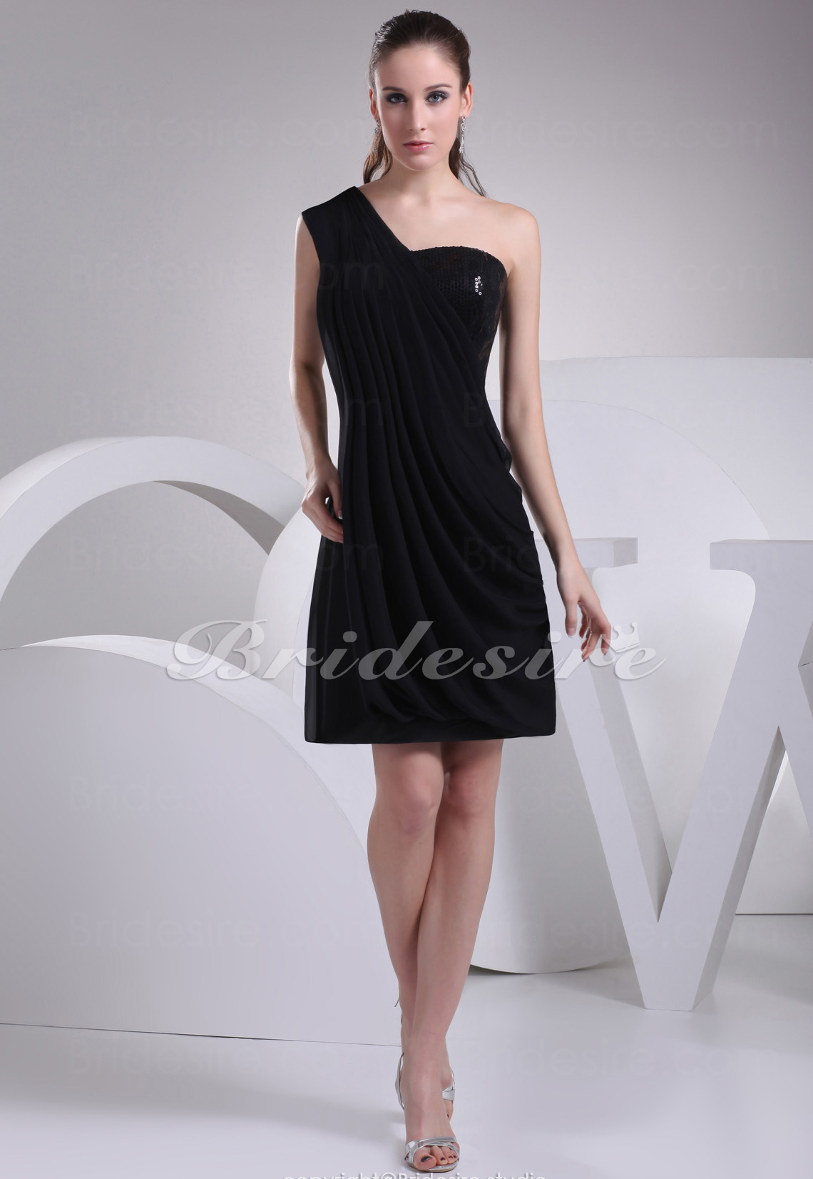 A-line One Shoulder Short/Mini Sleeveless Chiffon Sequined Dress