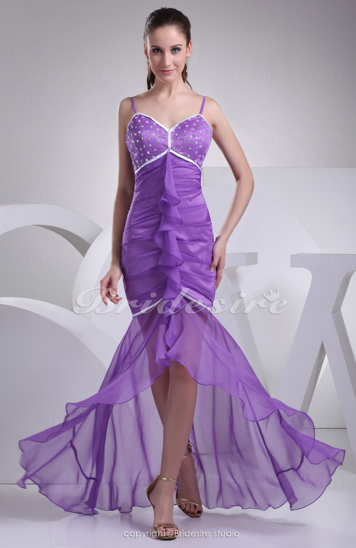 Trumpet/Mermaid Sweetheart Spaghetti Straps Asymmetrical Sleeveless Chiffon Satin Dress