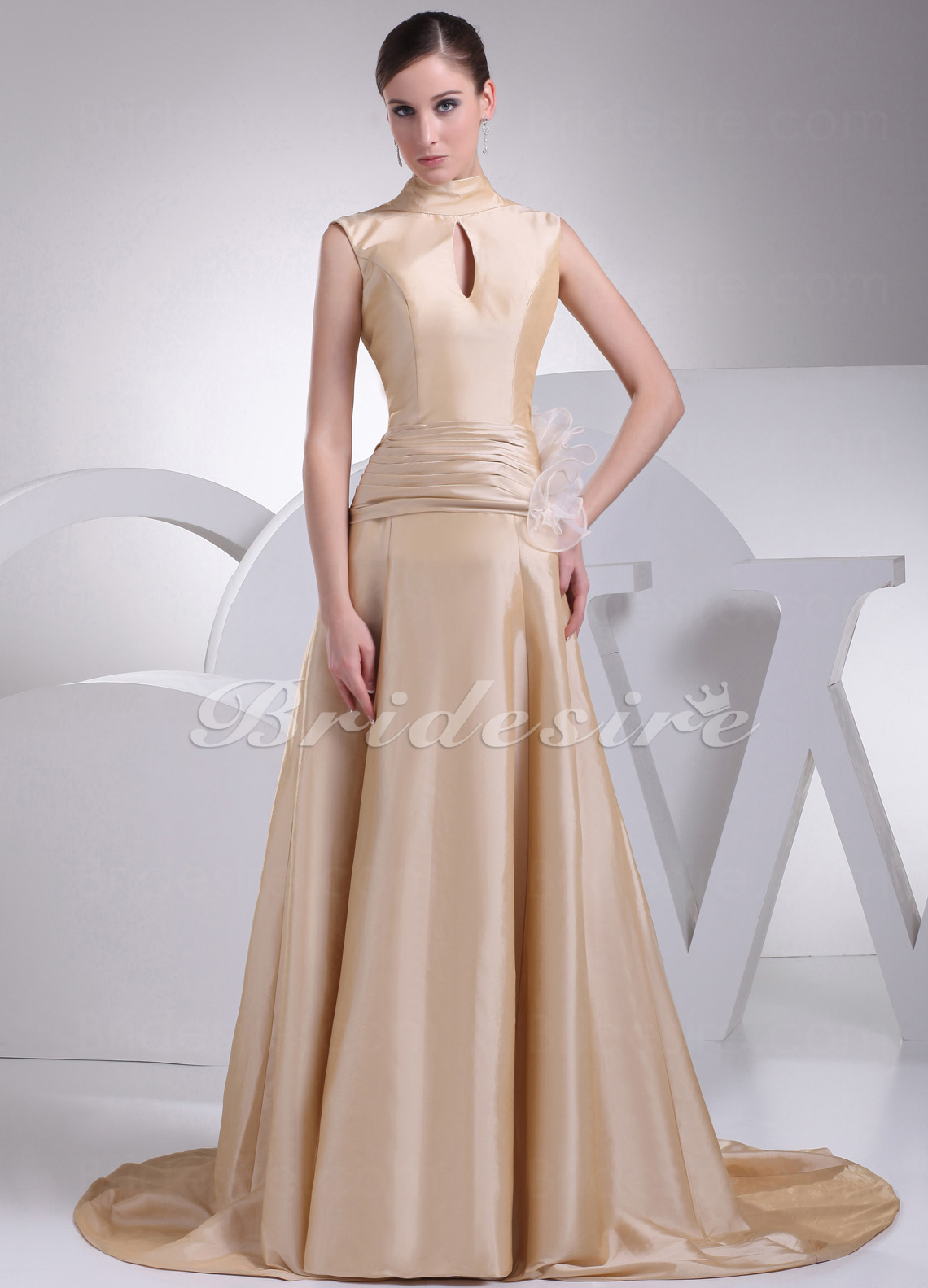 A-line High Neck Sweep Train Sleeveless Taffeta Organza Dress