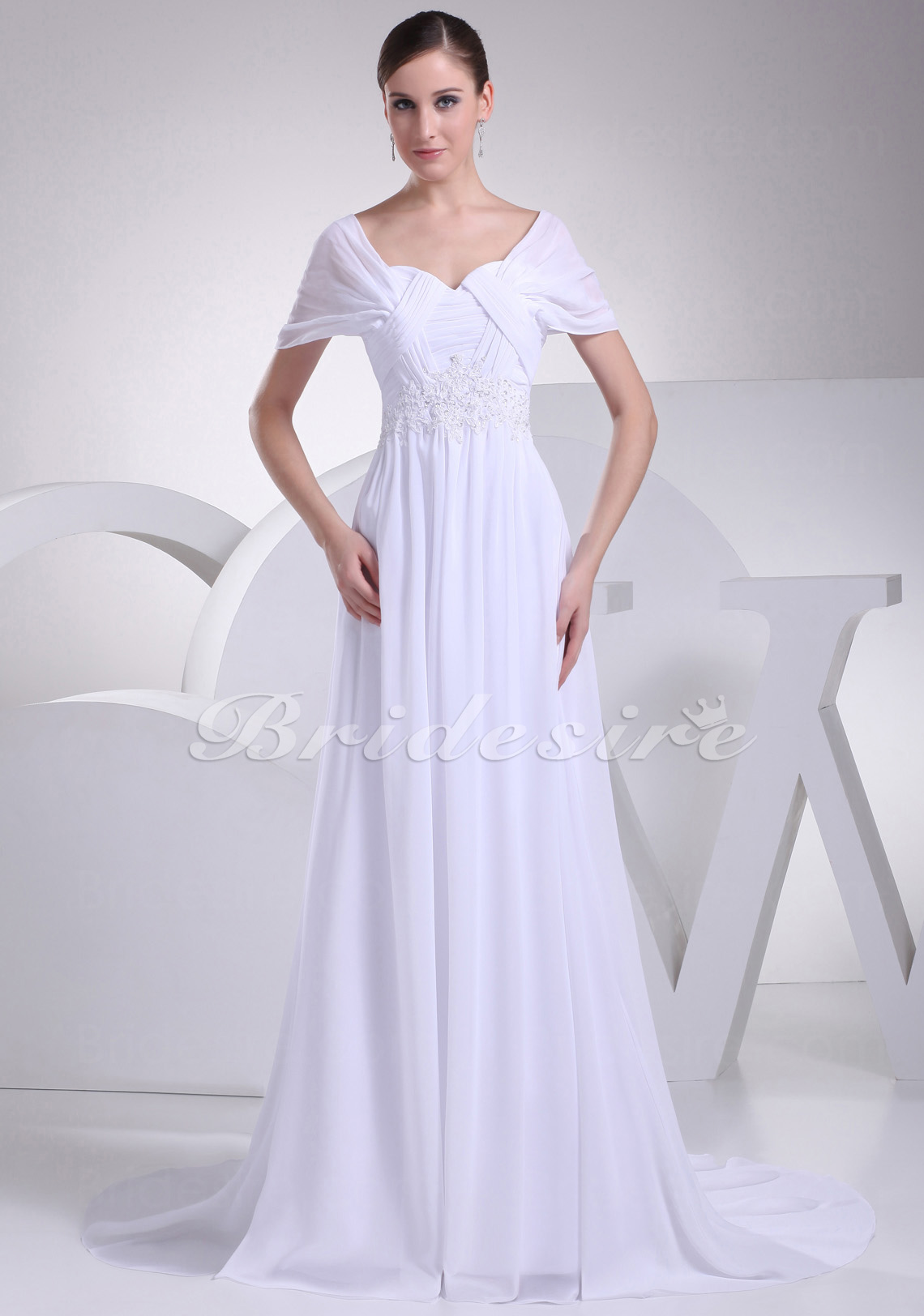 A-line Off-the-shoulder Sweetheart Sweep Train Short Sleeve Chiffon Wedding Dress