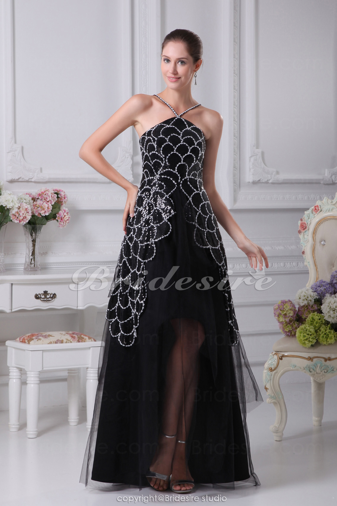 A-line Strapless Asymmetrical Short/Mini Sleeveless Satin Tulle Sequined Dress
