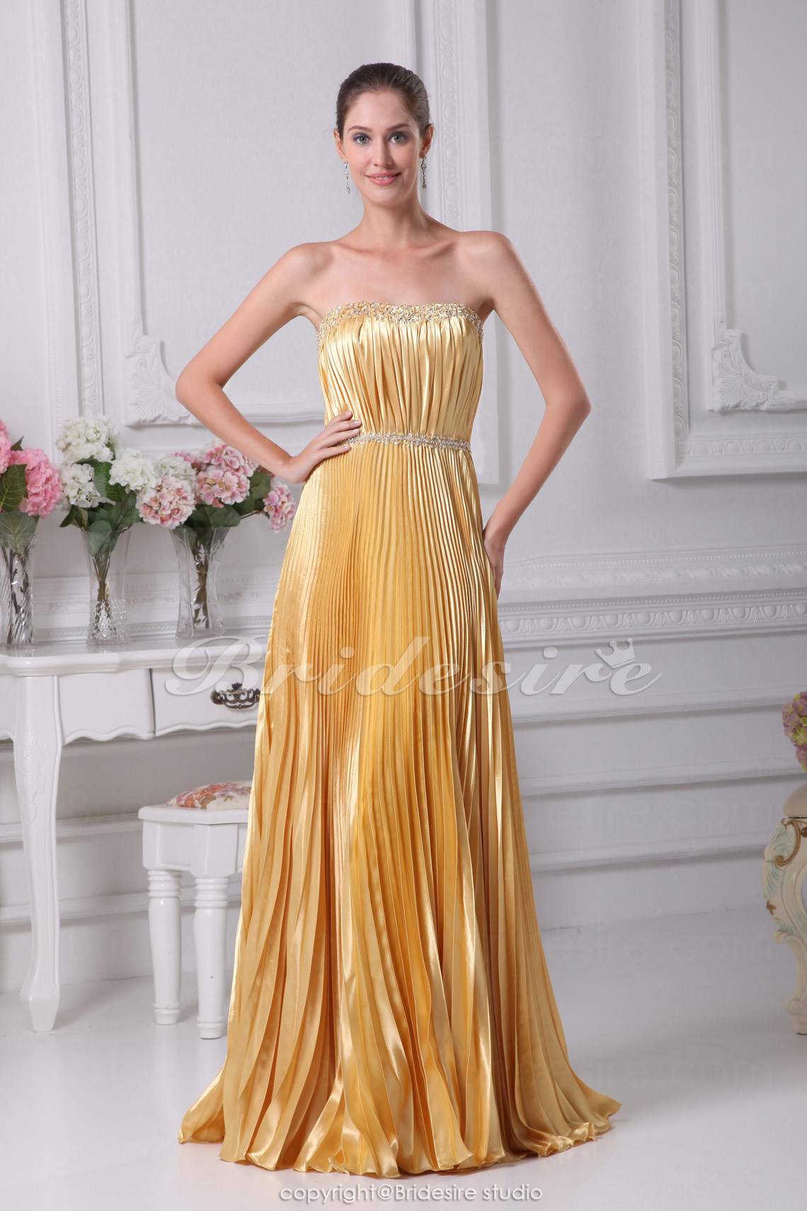 Sheath/Column Strapless Sweep Train Sleeveless Stretch Satin Dress