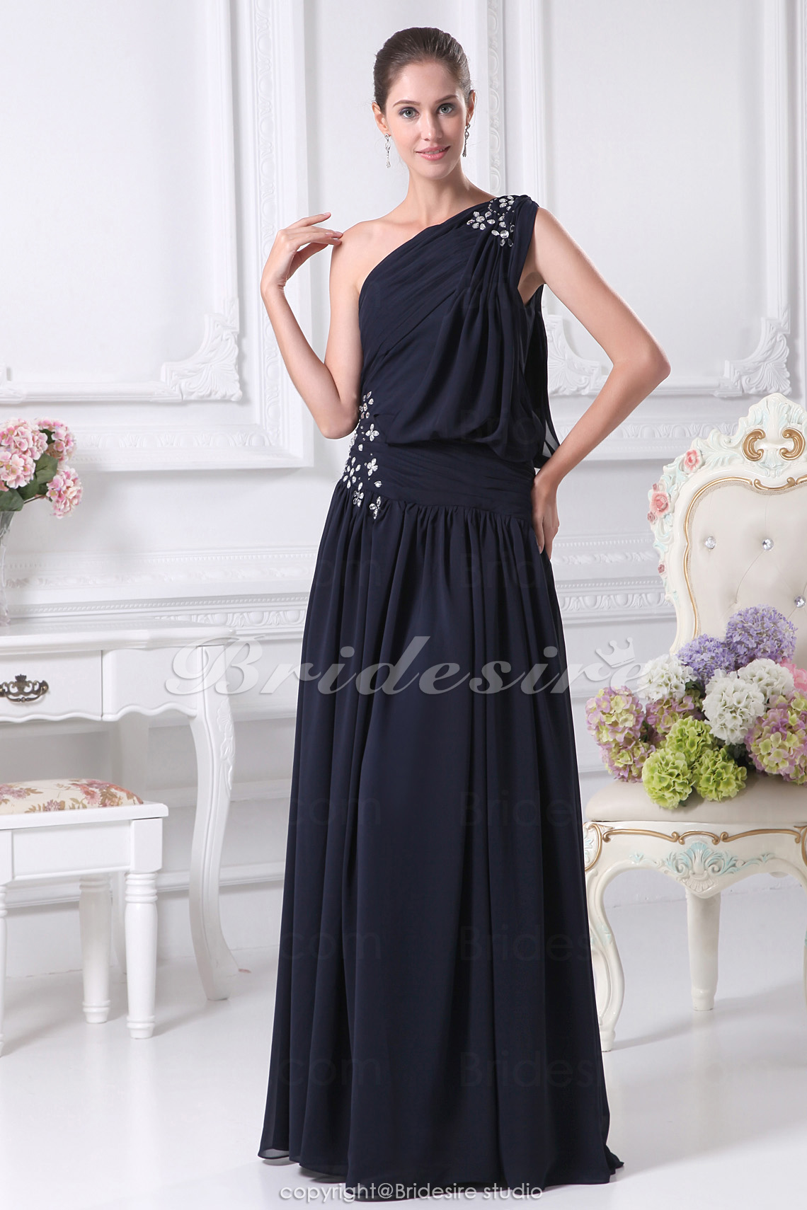 Sheath/Column One Shoulder Floor-length Sleeveless Chiffon Mother of the Bride Dress