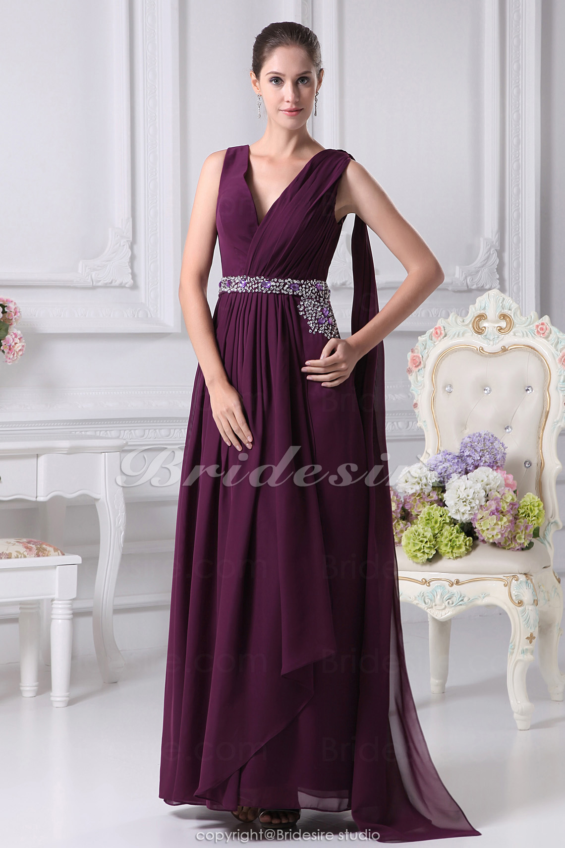 A-line V-neck Floor-length Sleeveless Chiffon Mother of the Bride Dress