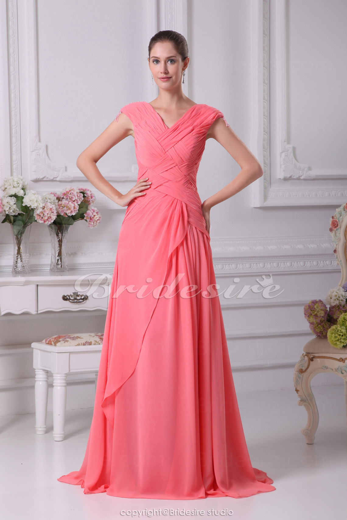 A-line V-neck Sweep Train Sleeveless Chiffon Dress