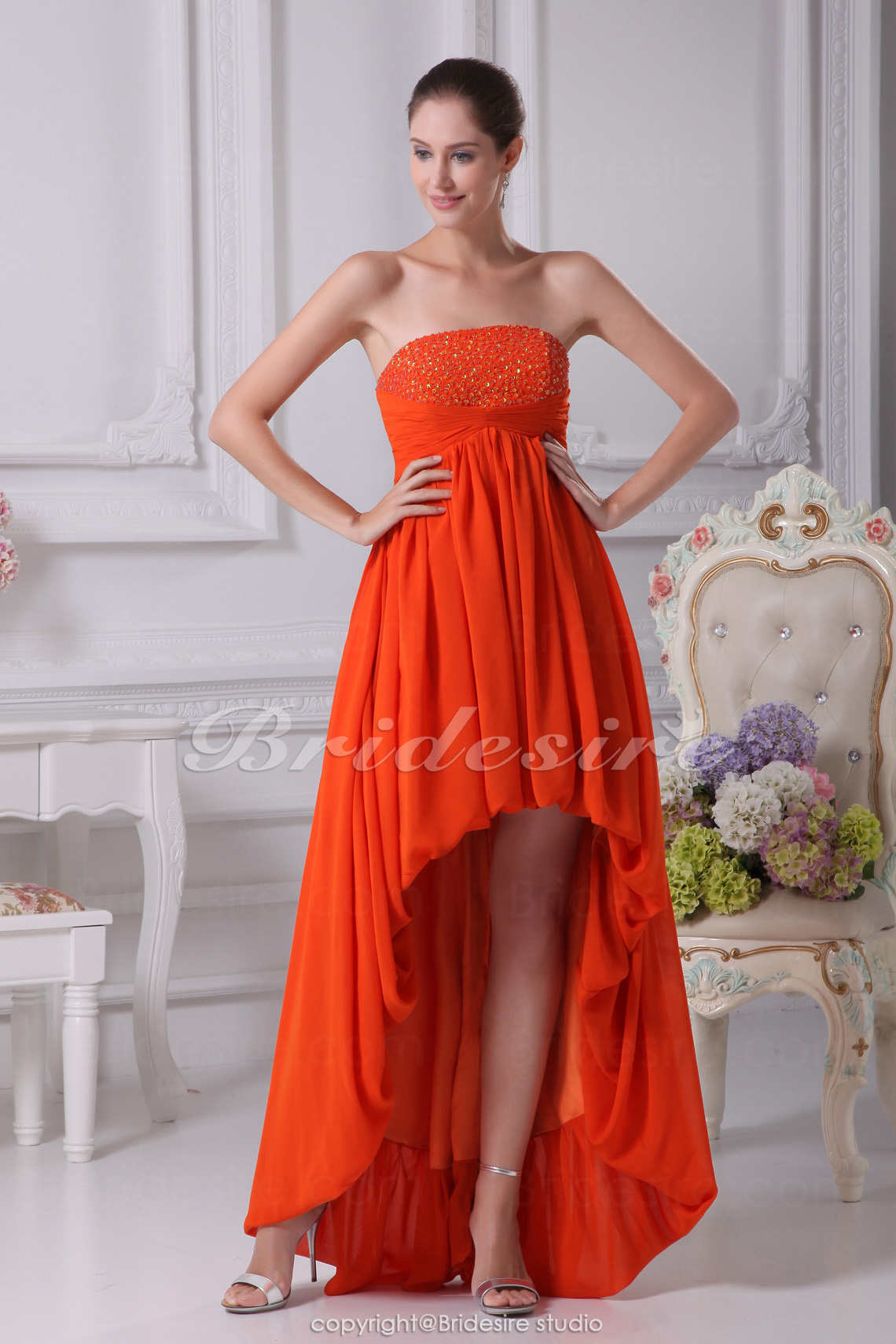 A-line Strapless Asymmetrical Short/Mini Sleeveless Chiffon Bridesmaid Dress