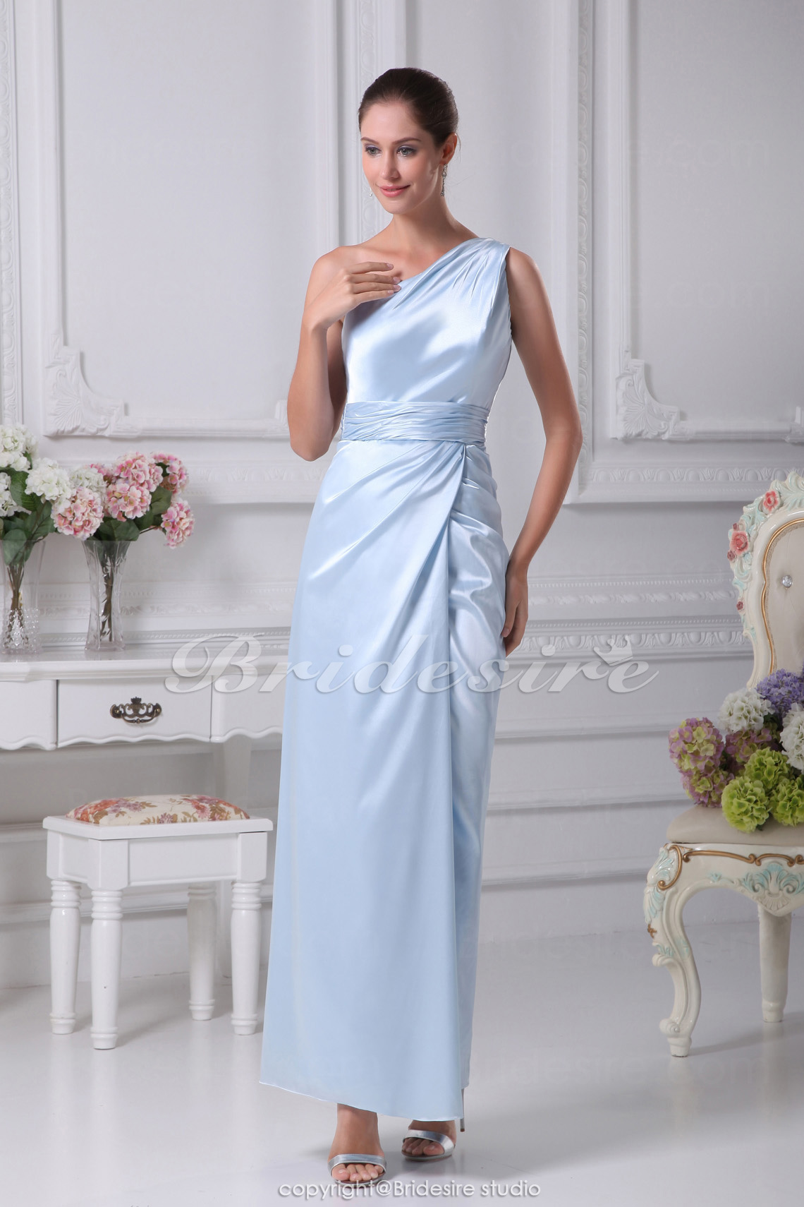 Sheath/Column One Shoulder Floor-length Sleeveless Stretch Satin Dress