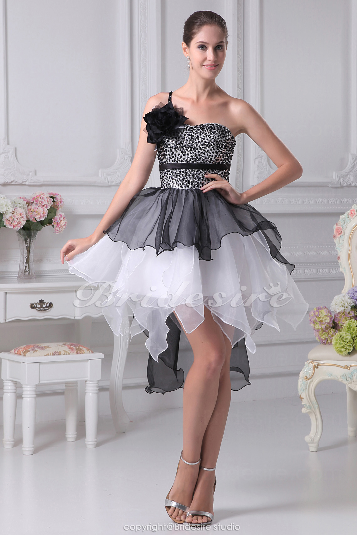 Princess One Shoulder Short/Mini Sleeveless Organza Satin Dress