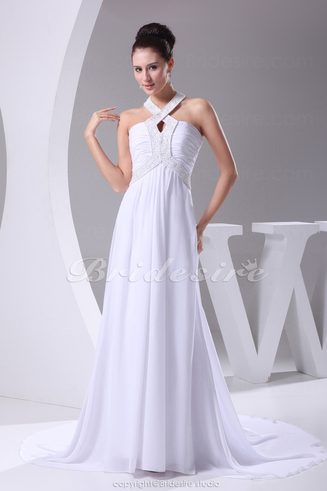 A-line Halter Chapel Train Sleeveless Chiffon Wedding Dress