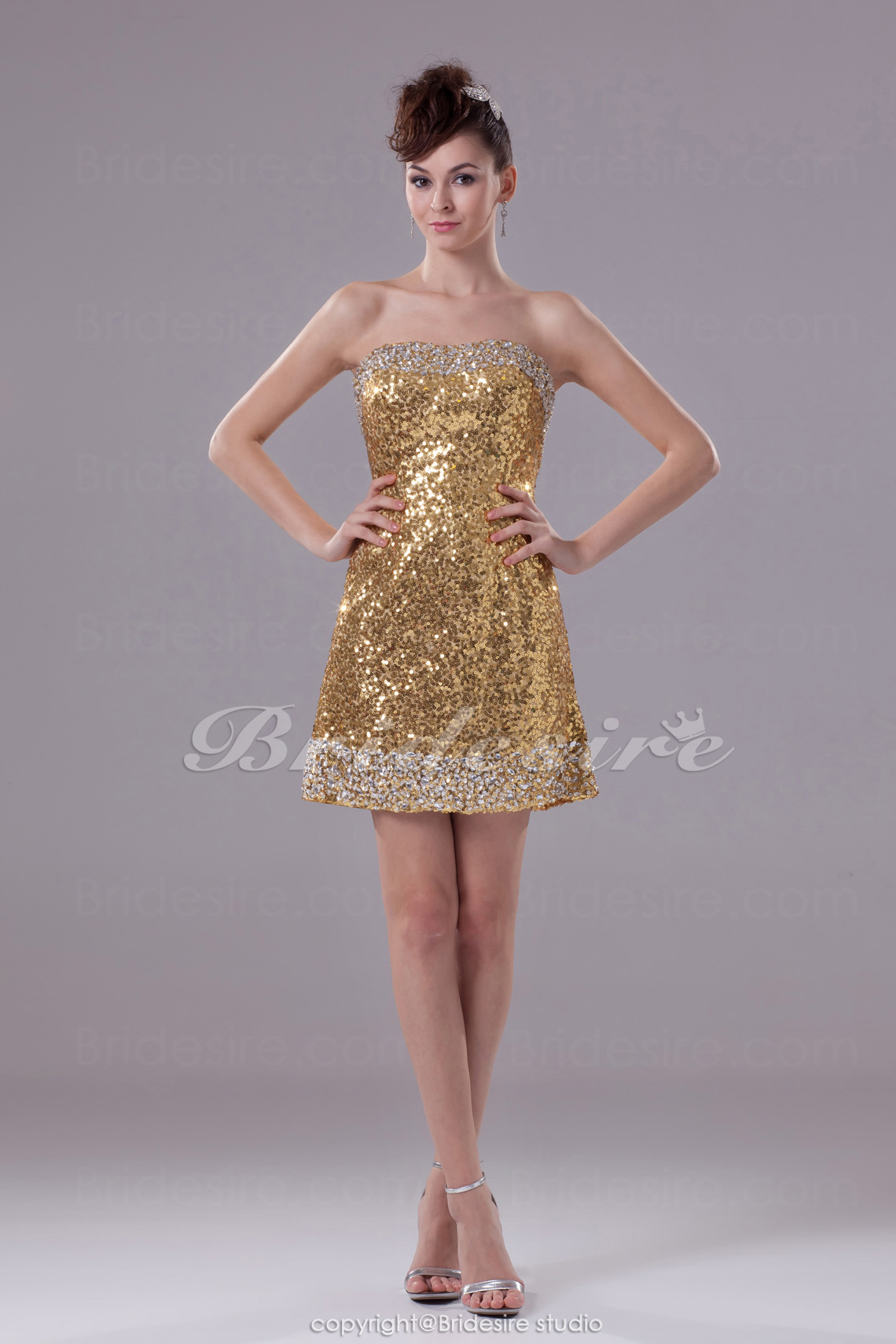 A-line Strapless Short/Mini Sleeveless Sequined Dress