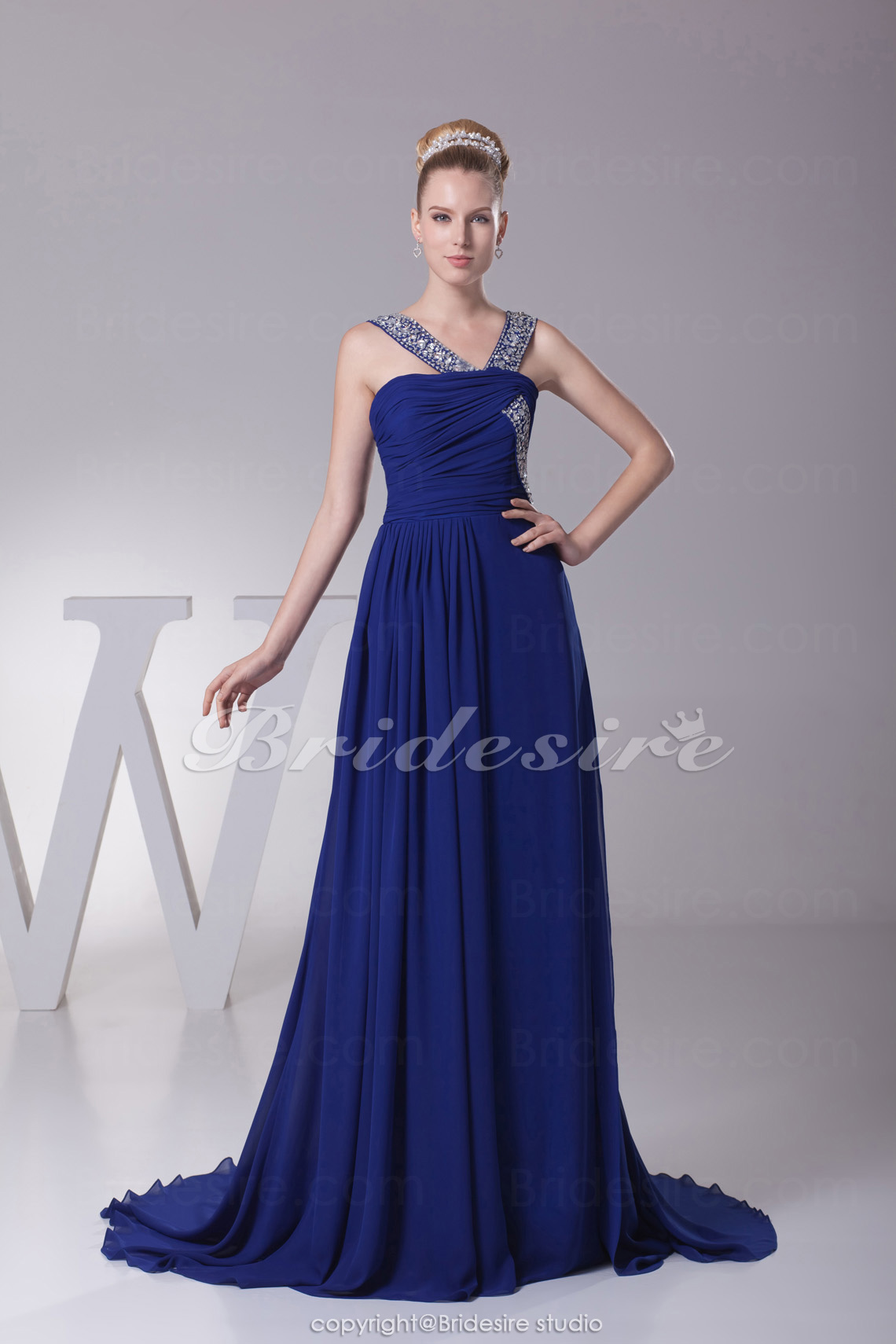 A-line Straps Court Train Sleeveless Chiffon Dress