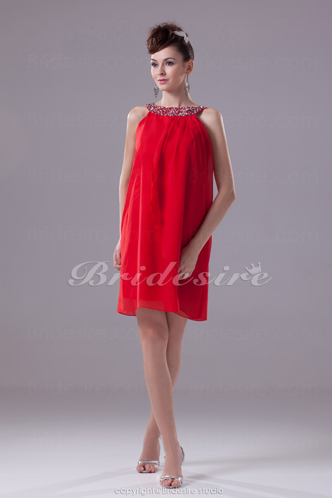 Sheath/Column Scoop Short/Mini Sleeveless Chiffon Dress