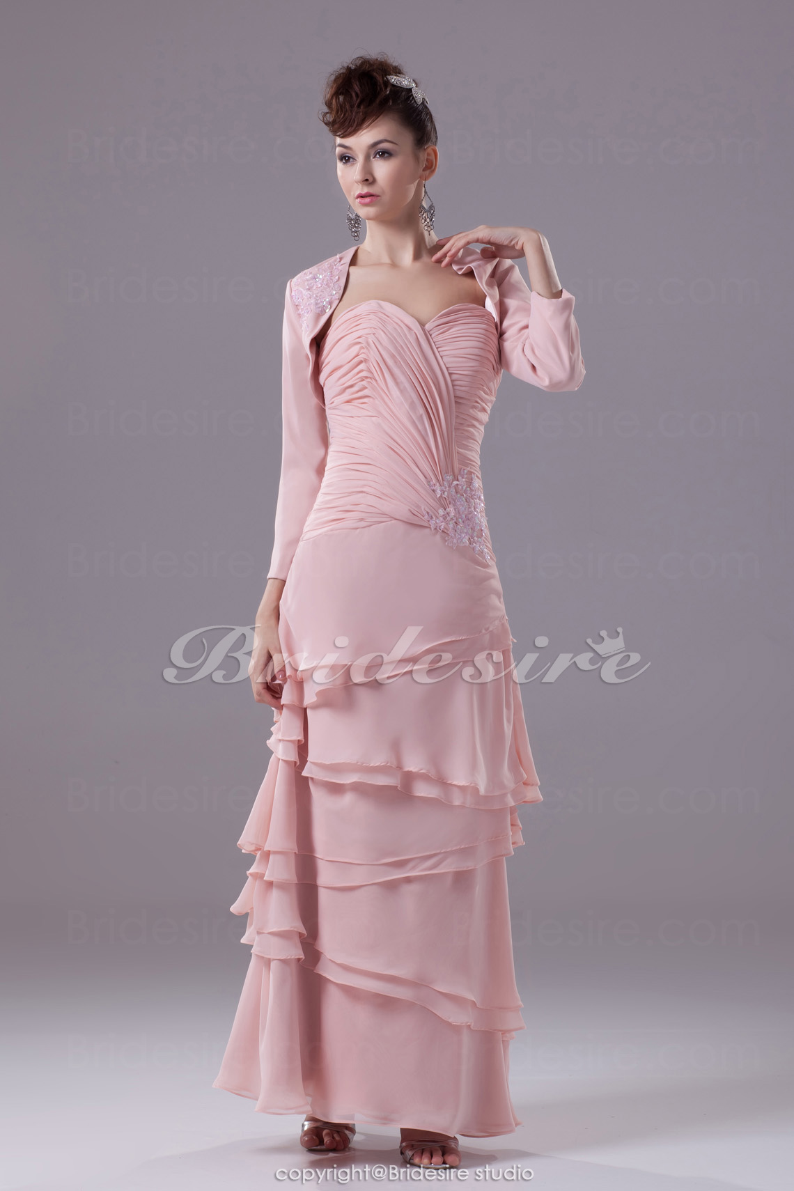 A-line Sweetheart Floor-length 3/4 Length Sleeve Chiffon Dress