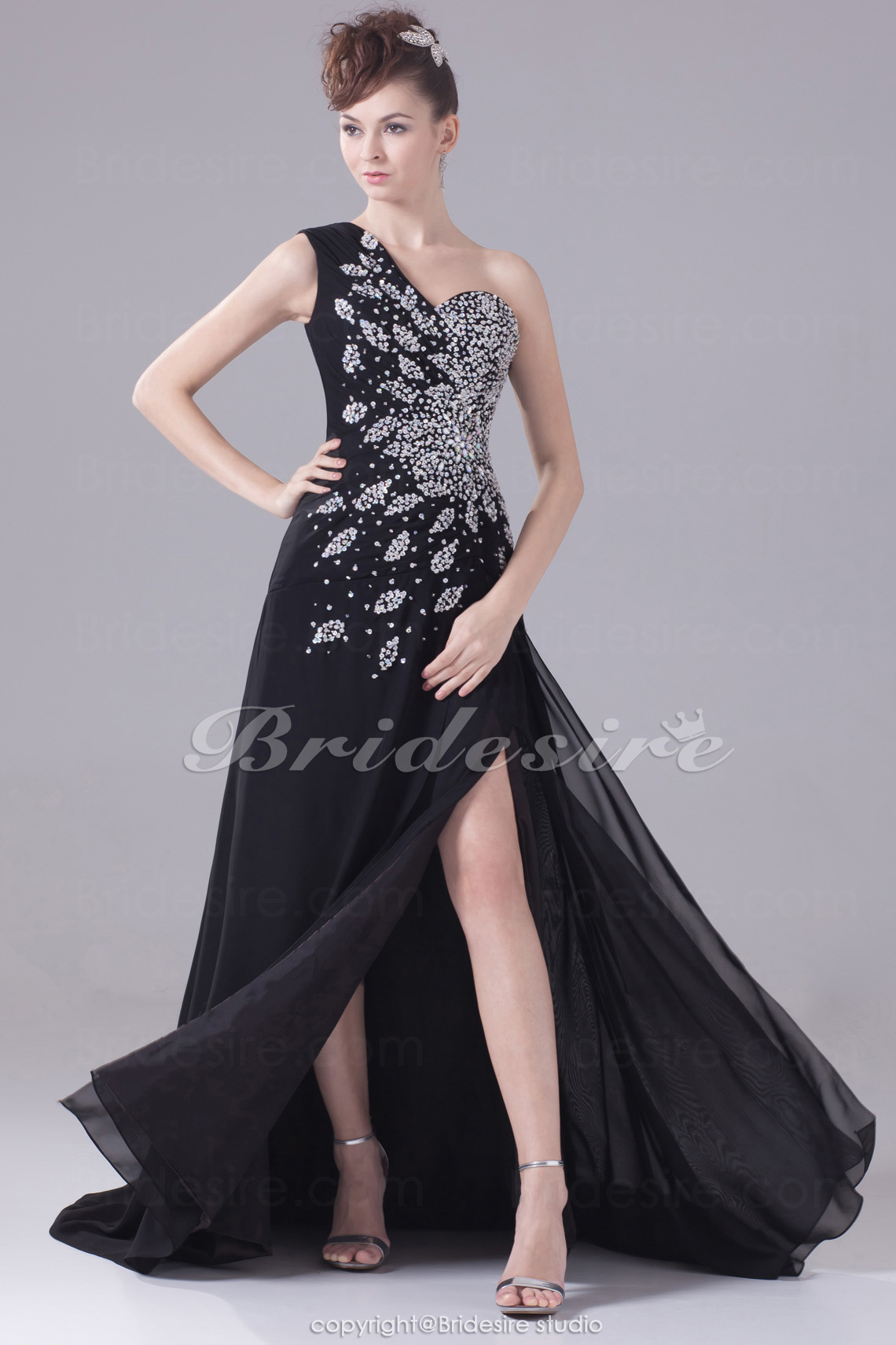 A-line One Shoulder Court Train Sleeveless Chiffon Dress