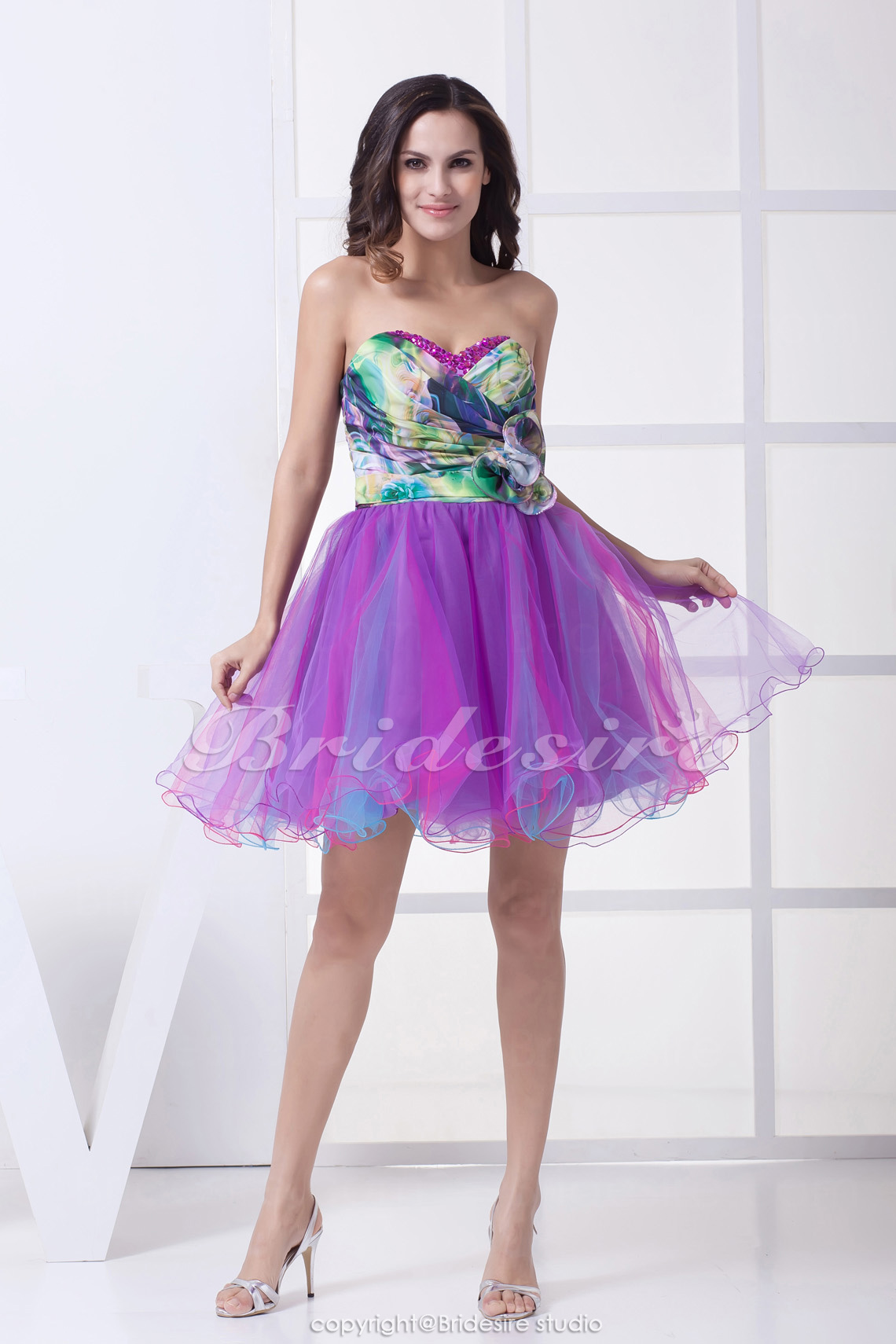 A-line Sweetheart Short/Mini Sleeveless Chiffon Tulle Dress