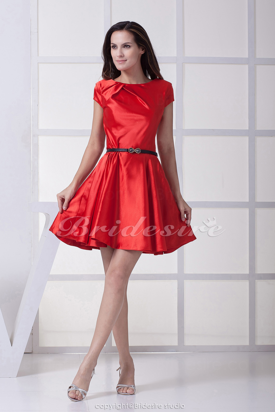 A-line Scoop Short/Mini Short Sleeve Stretch Satin Bridesmaid Dress