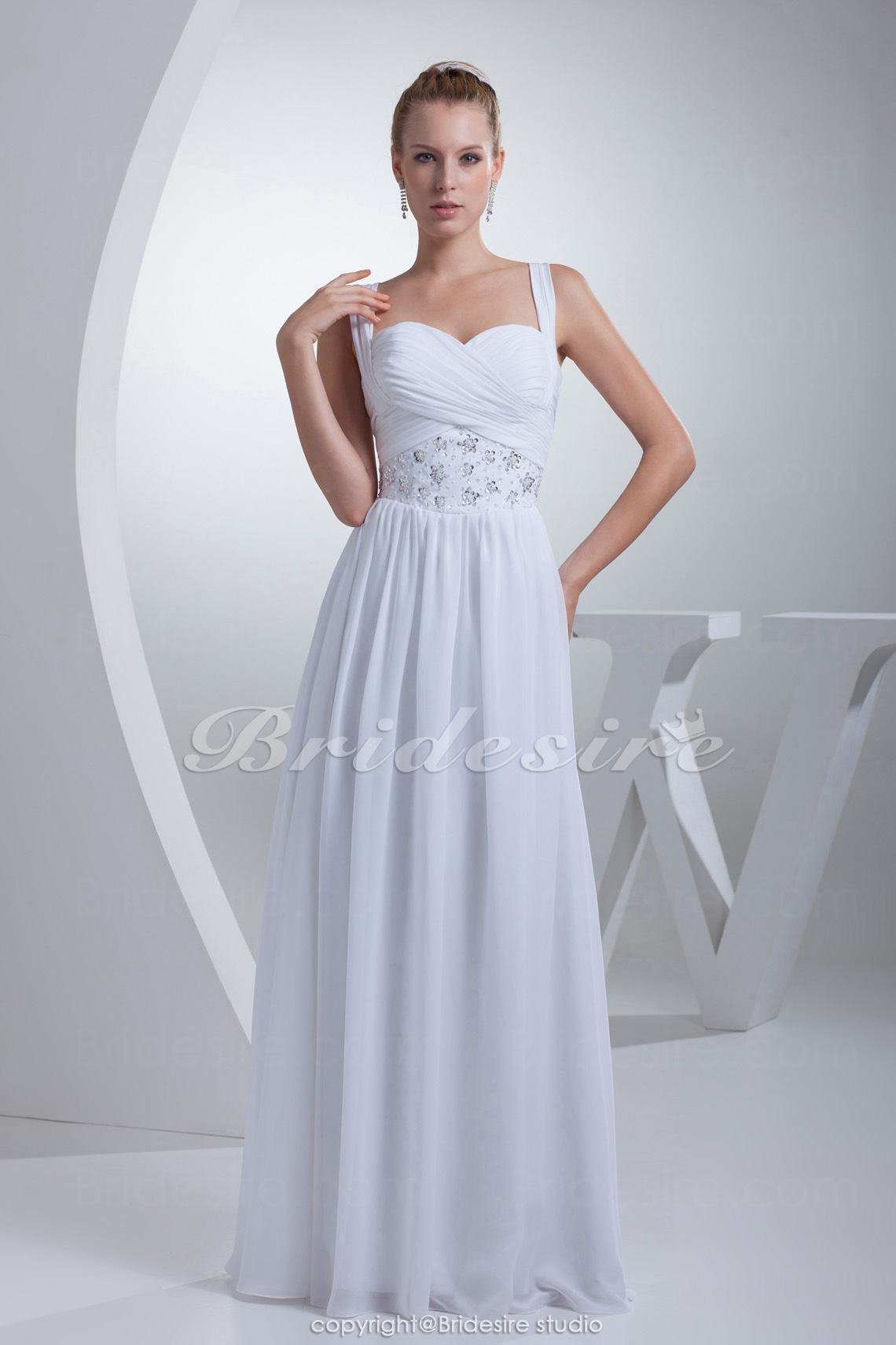 Sheath/Column Sweetheart Straps Floor-length Sleeveless Chiffon Wedding Dress
