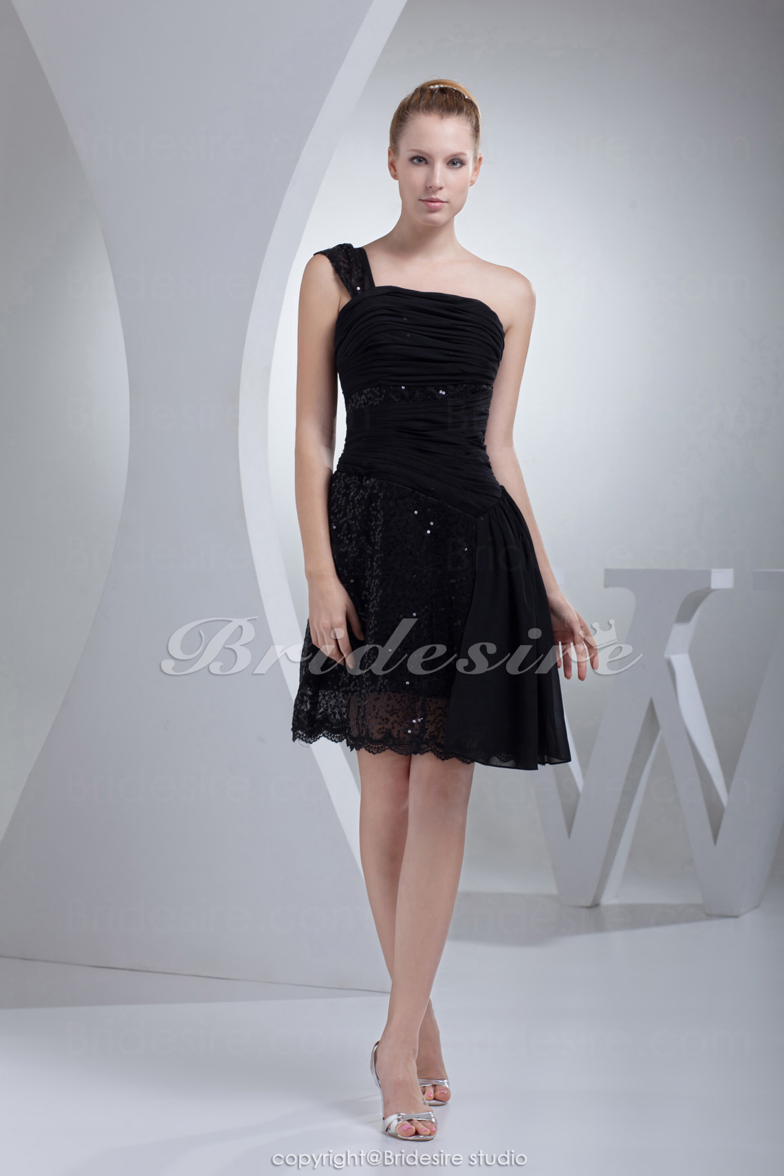 Sheath/Column One Shoulder Short/Mini Sleeveless Chiffon Sequined Dress
