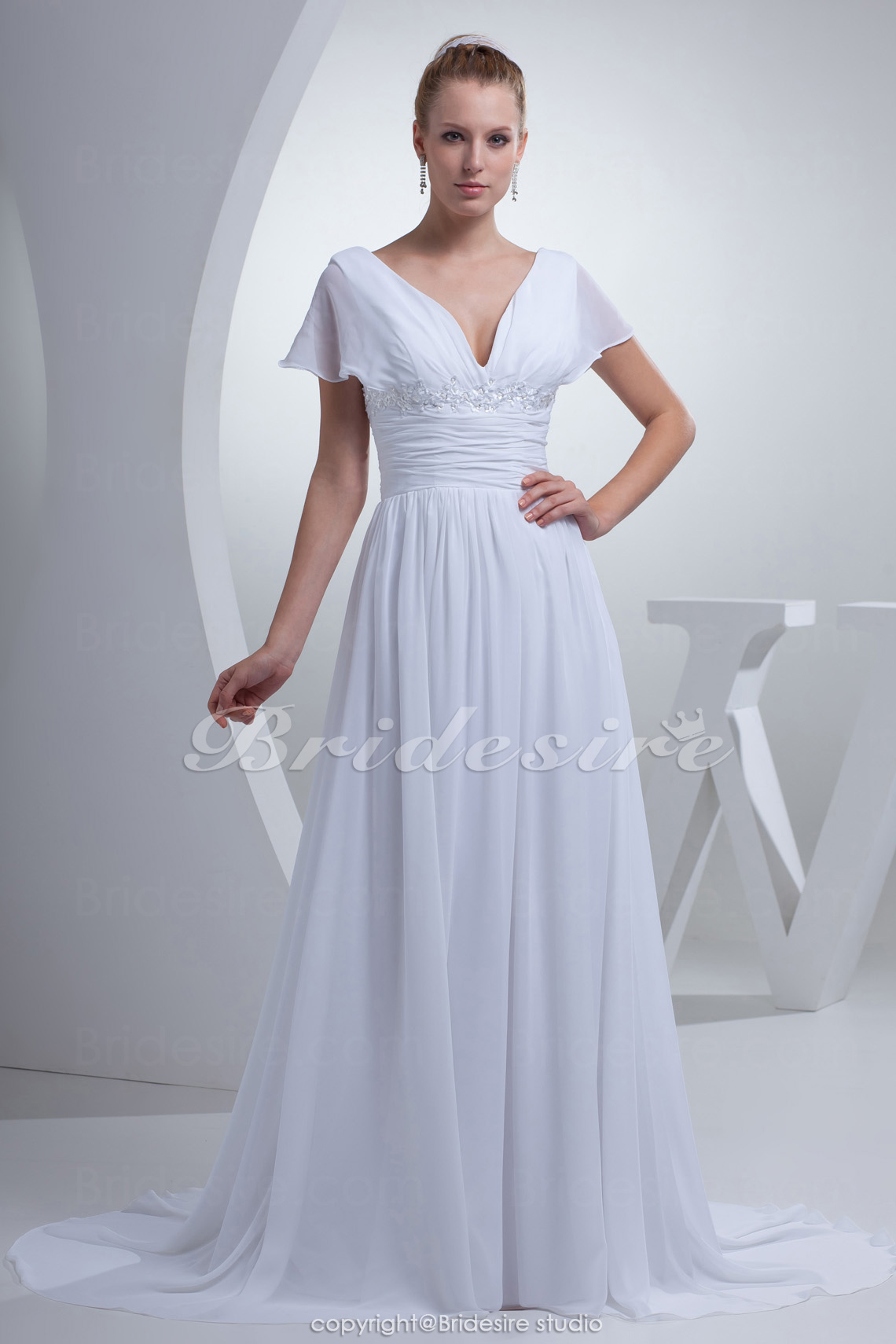 A-line V-neck Court Train Short Sleeve Chiffon Wedding Dress