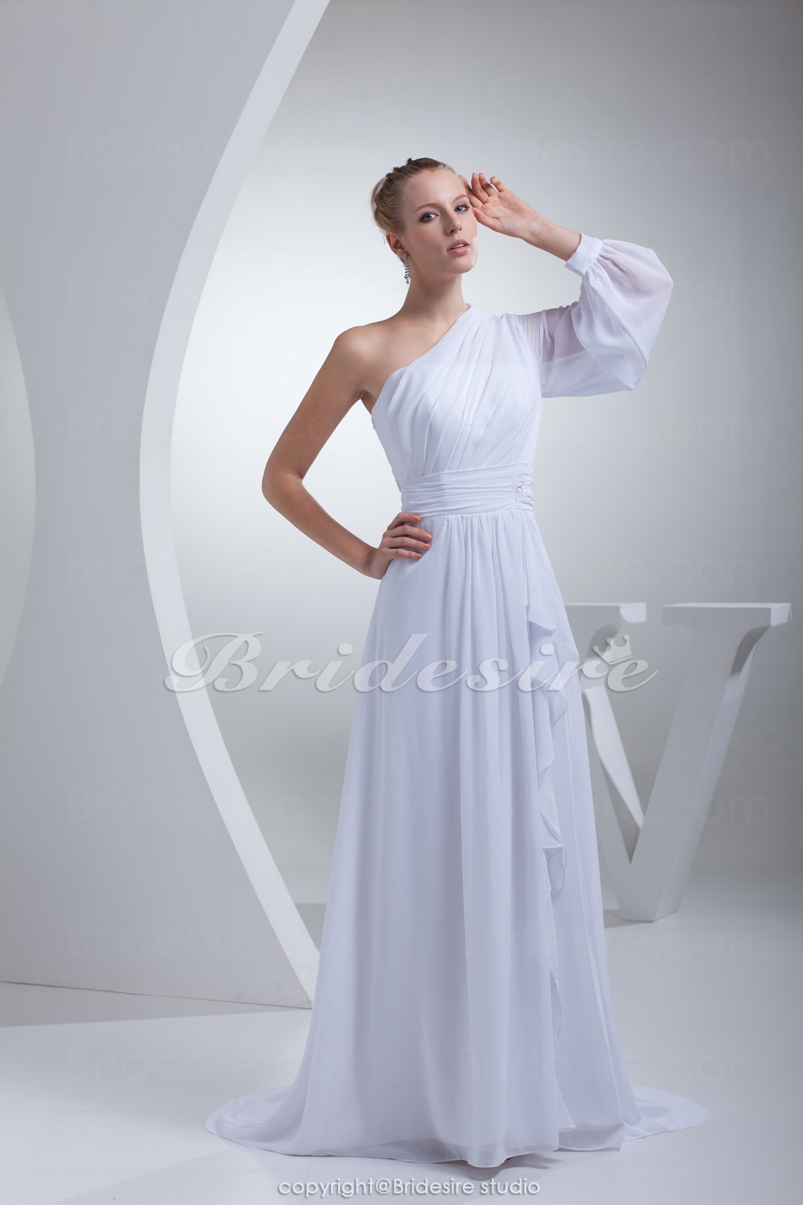 Sheath/Column One Shoulder Court Train Long Sleeve Chiffon Wedding Dress