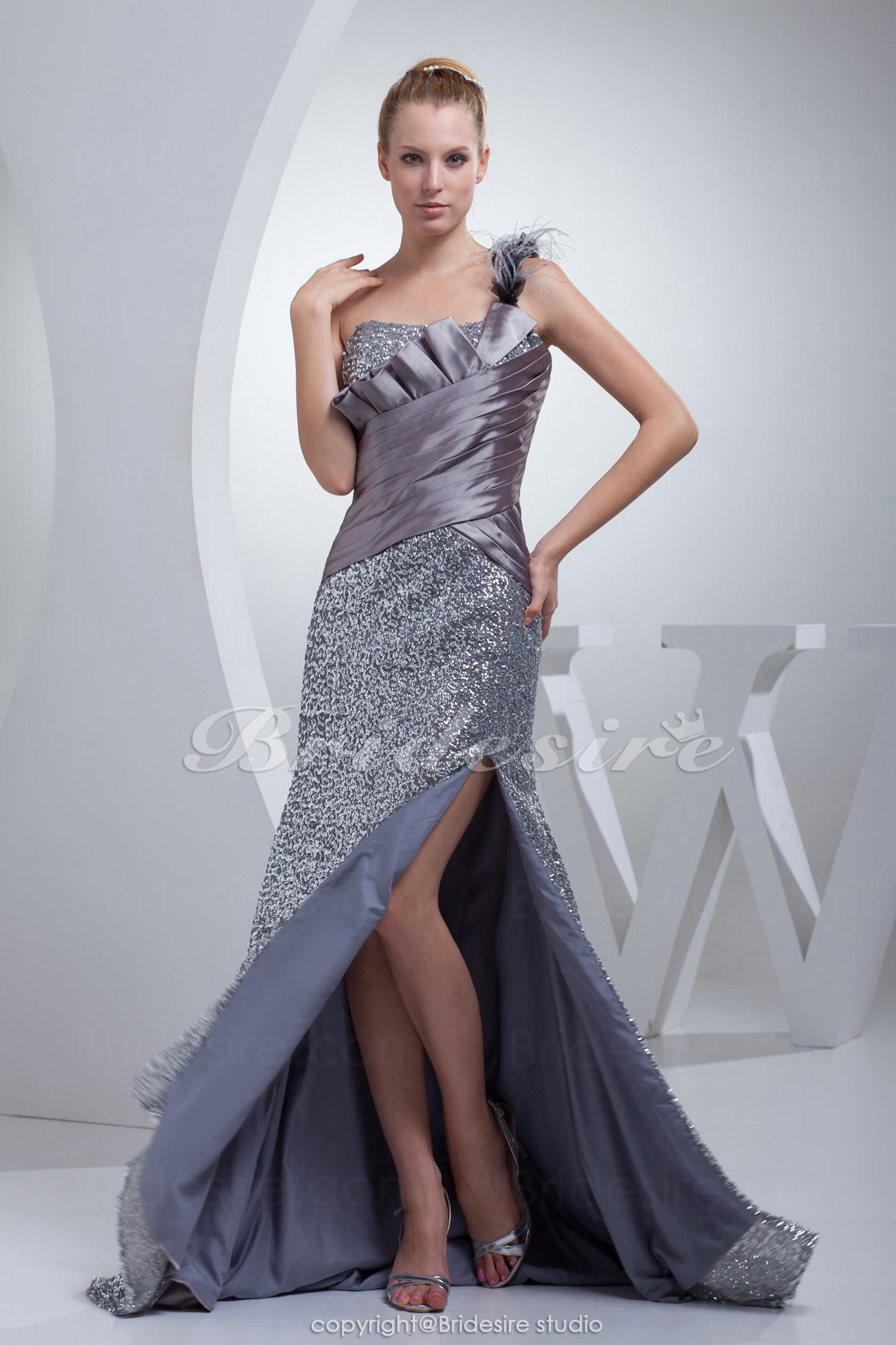 A-line One Shoulder Sweep/Brush Train Sleeveless Stretch Satin Sequined Dress