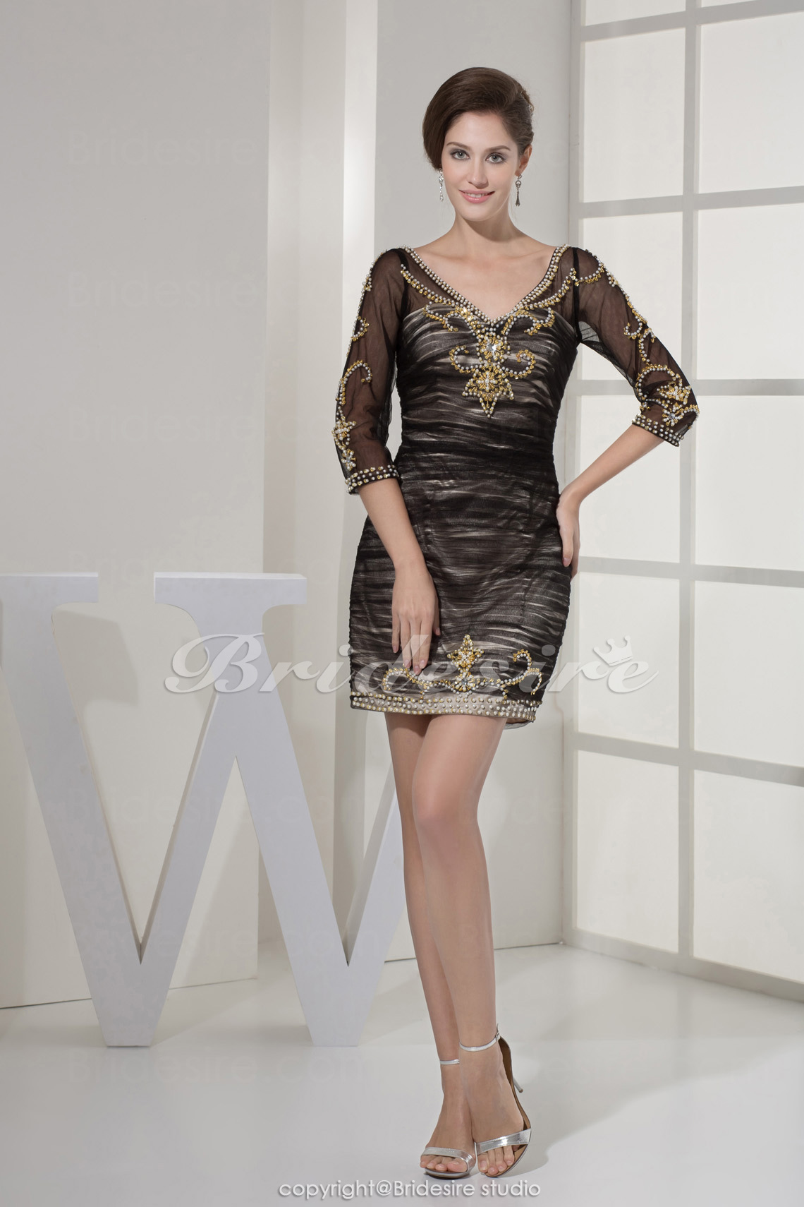 Sheath/Column V-neck Short/Mini 3/4 Length Sleeve Chiffon Satin Mother of the Bride Dress