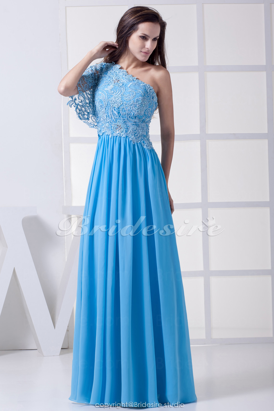 Sheath/Column One Shoulder Floor-length Short Sleeve Chiffon Lace Dress