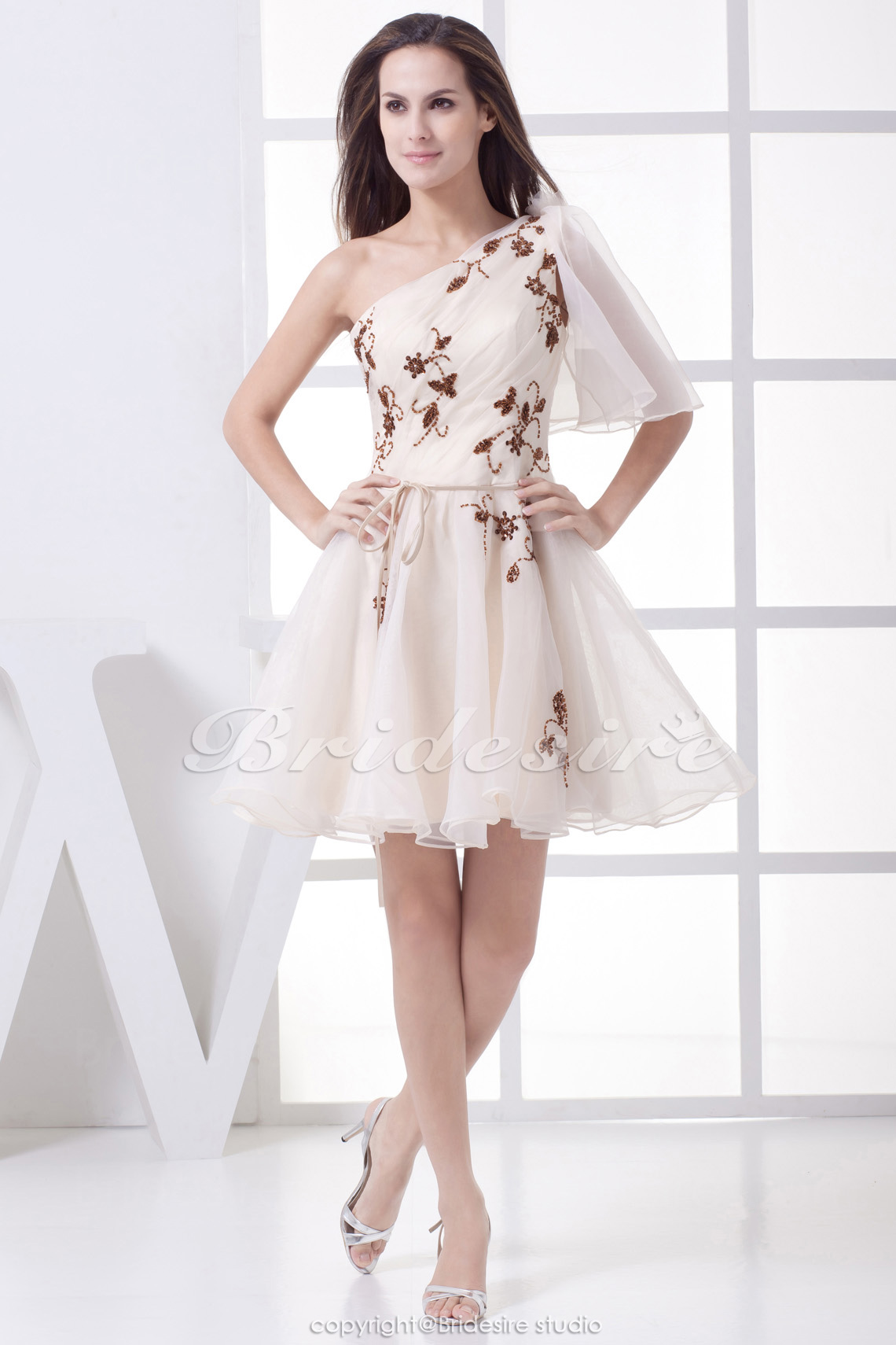 A-line One Shoulder Short/Mini Half Sleeve Organza Bridesmaid Dress