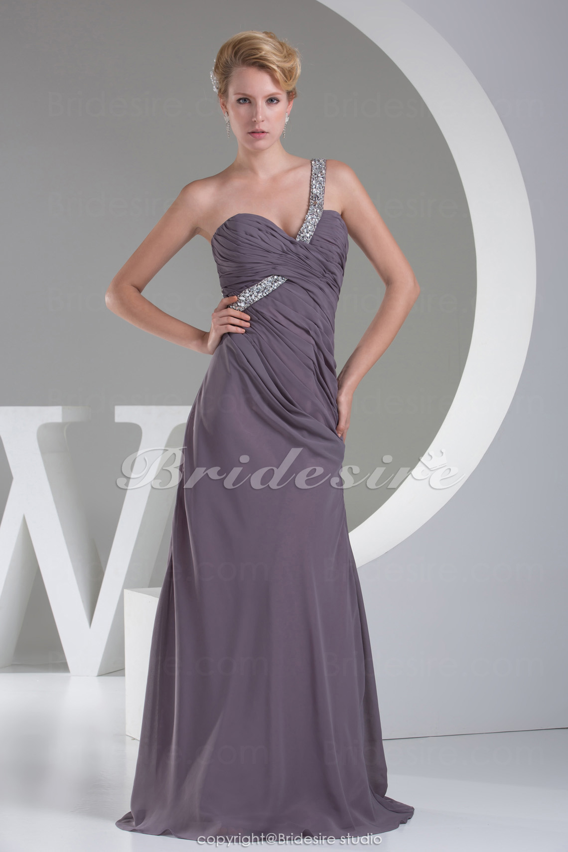 Sheath/Column One Shoulder Sweep/Brush Train Sleeveless Chiffon Bridesmaid Dress