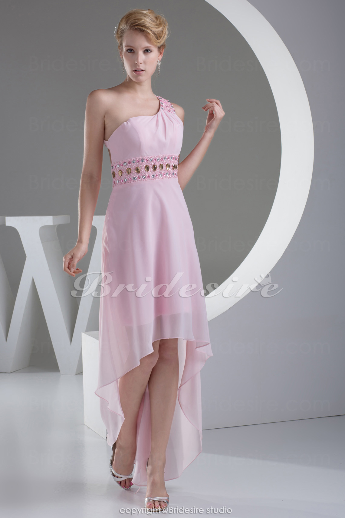 A-line One Shoulder Asymmetrical Sleeveless Chiffon Dress