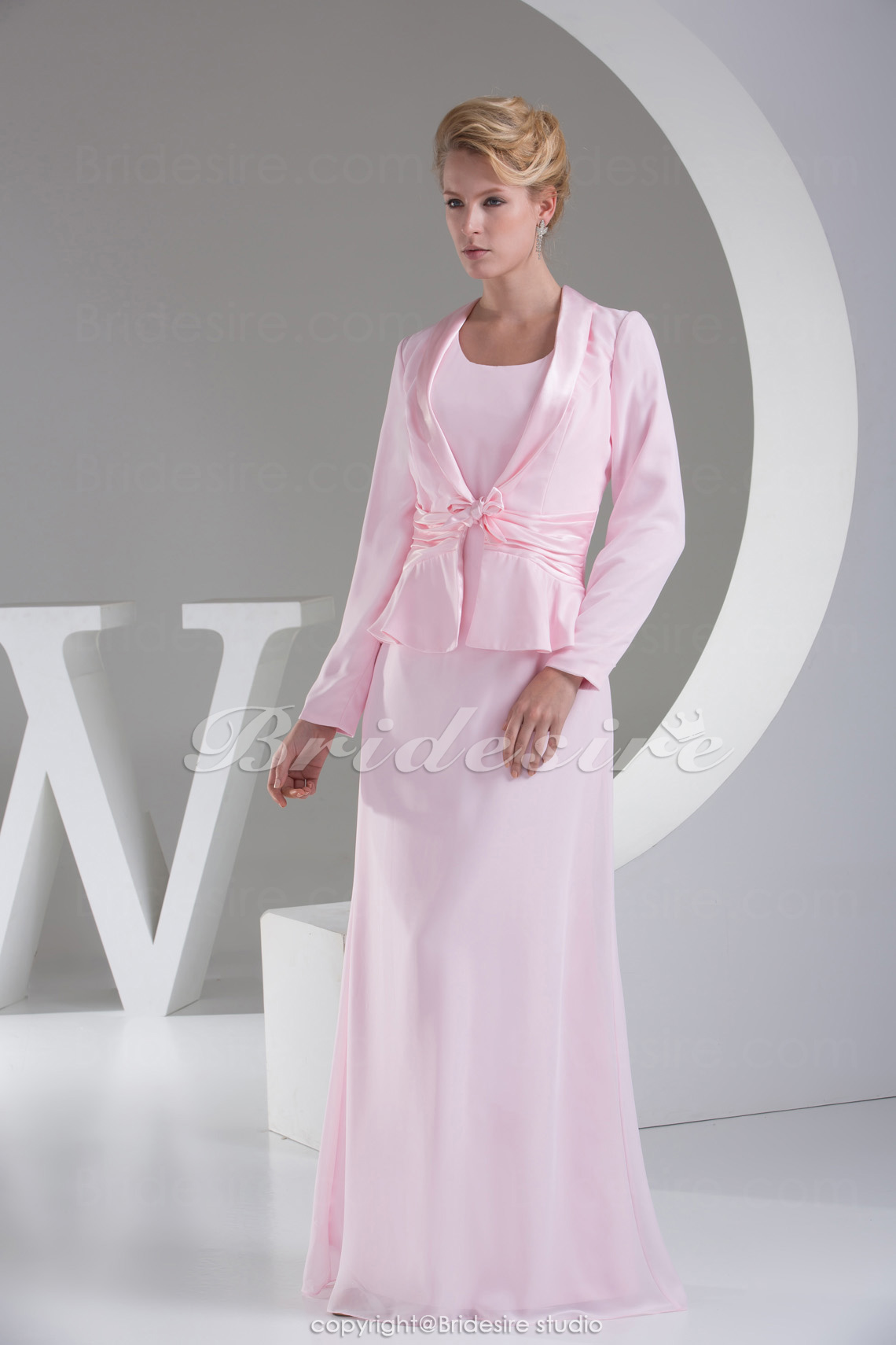 Sheath/Column Scoop Floor-length Long Sleeve Chiffon Stretch Satin Mother of the Bride Dress