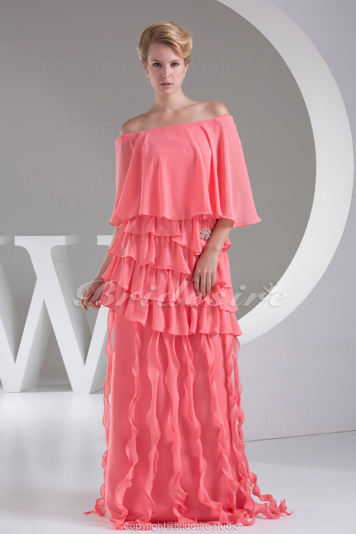 Sheath/Column Bateau Floor-length 3/4 Length Sleeve Chiffon Dress