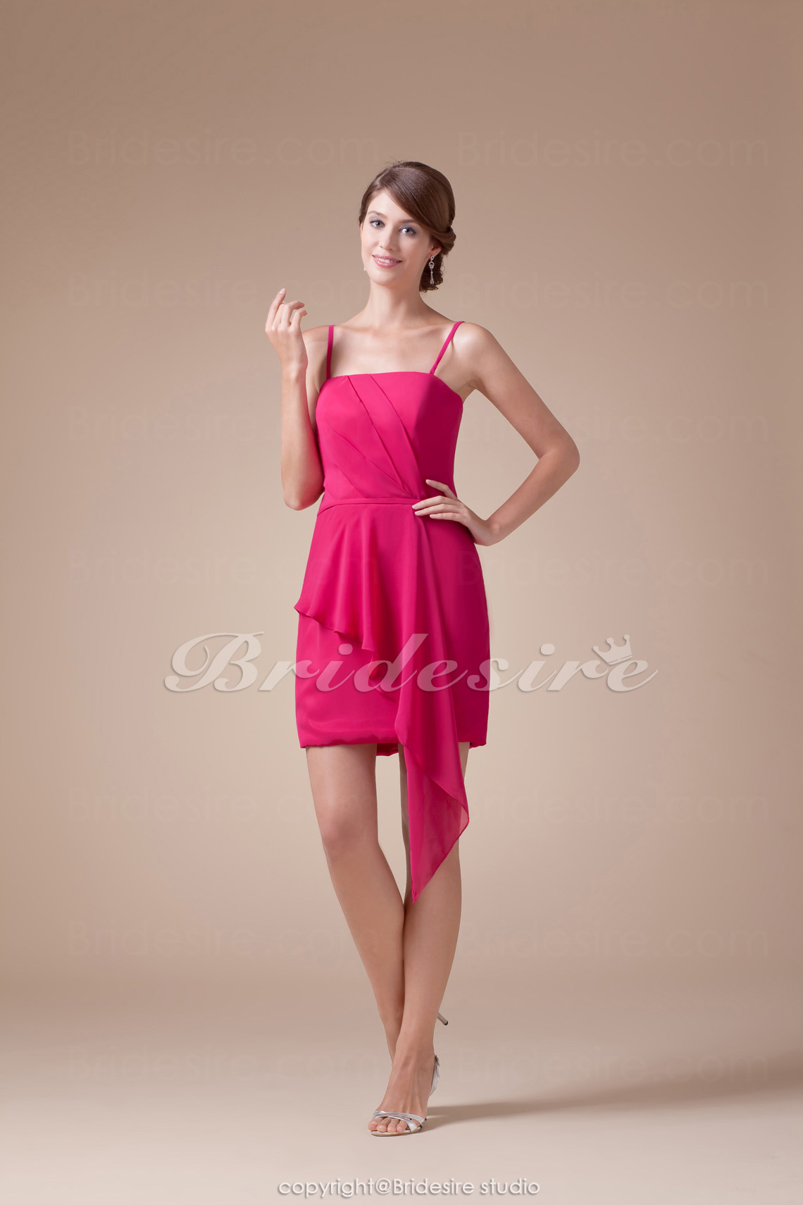 Sheath/Column Spaghetti Straps Short/Mini Sleeveless Chiffon Bridesmaid Dress
