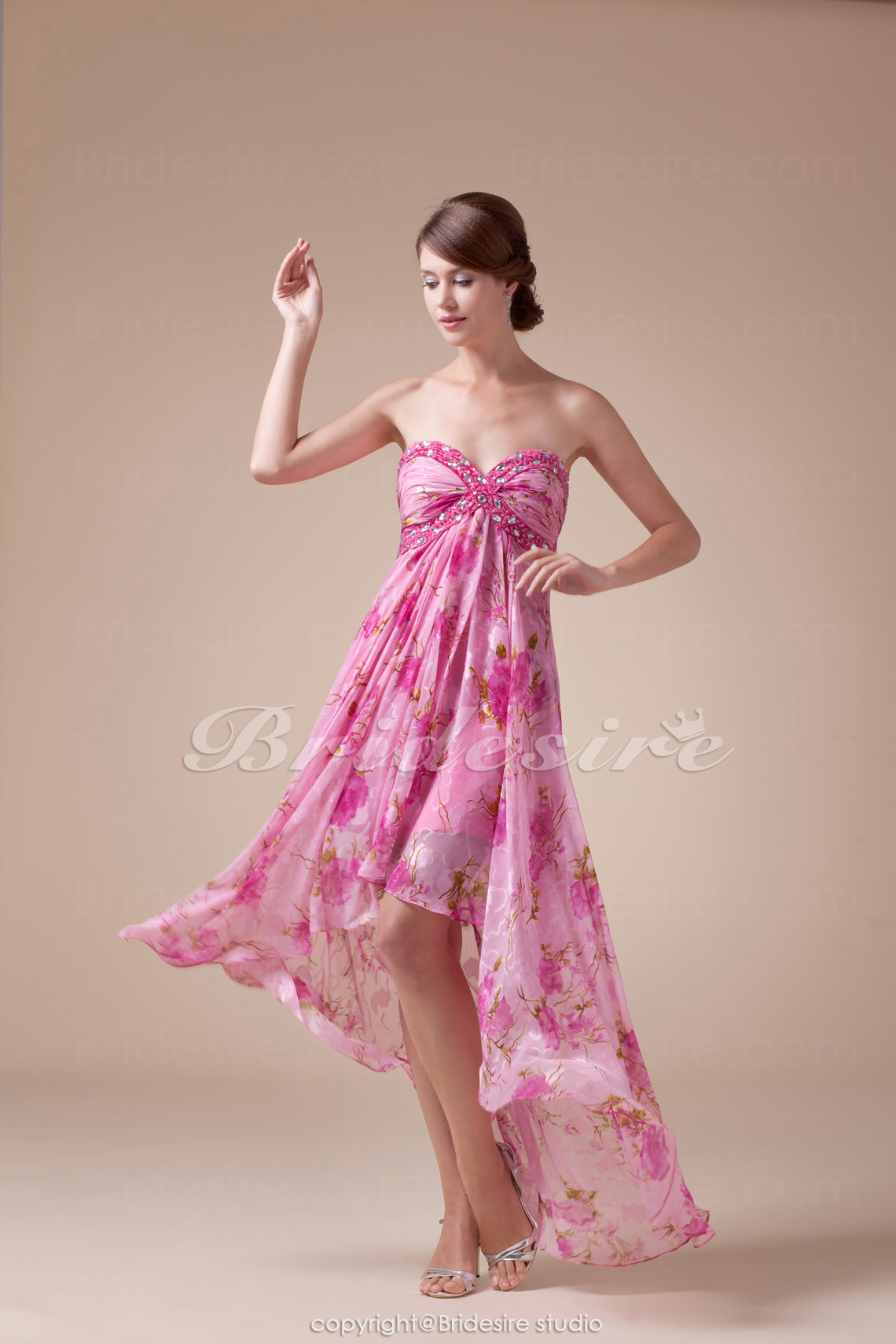 A-line Sweetheart Asymmetrical Sleeveless Chiffon Dress