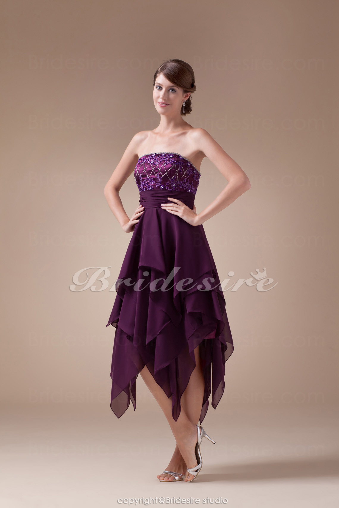 A-line Strapless Tea-length Sleeveless Chiffon Stretch Satin Bridesmaid Dress