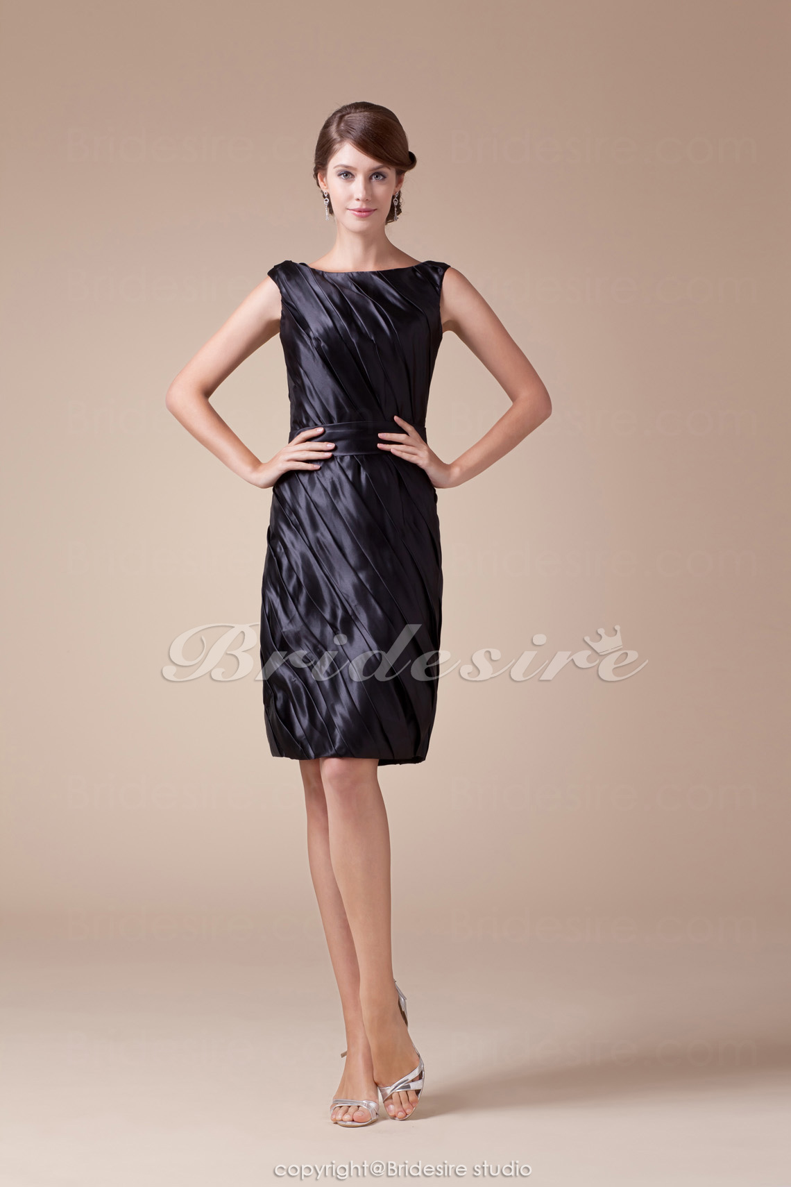 Sheath/Column Scoop Knee-length Long Sleeve Sleeveless Stretch Satin Dress