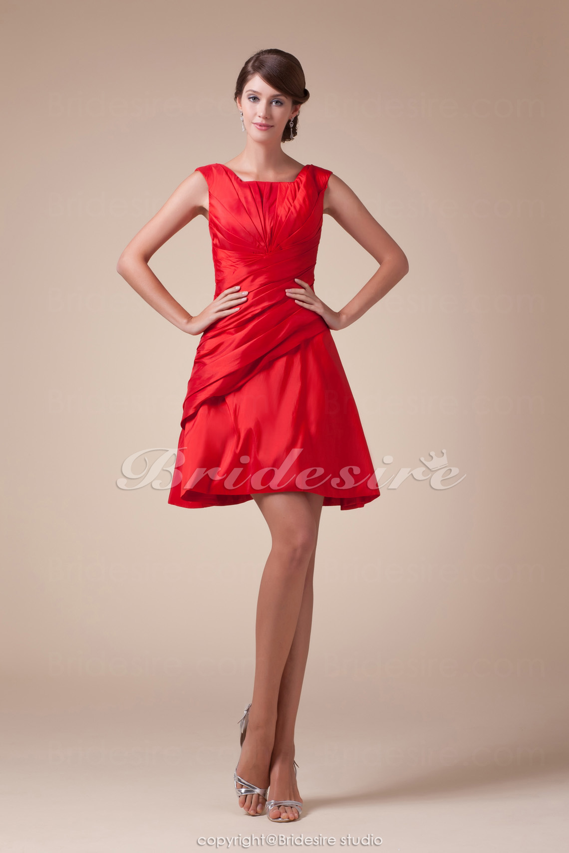 A-line Square Knee-length Sleeveless Taffeta Bridesmaid Dress