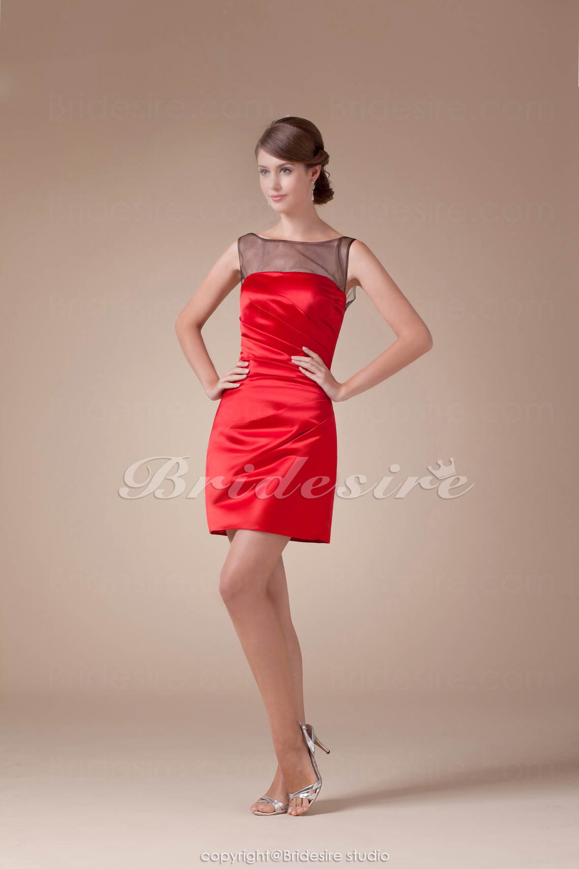 Sheath/Column Bateau Short/Mini Sleeveless Satin Dress