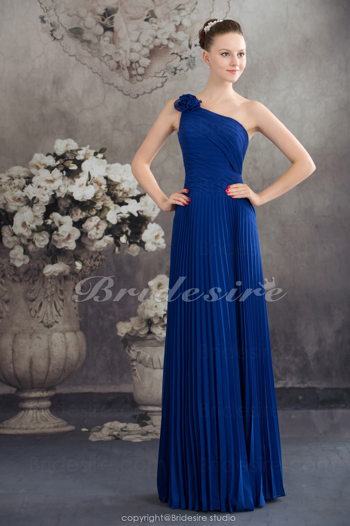 Sheath/Column One Shoulder Floor-length Sleeveless Chiffon Bridesmaid Dress