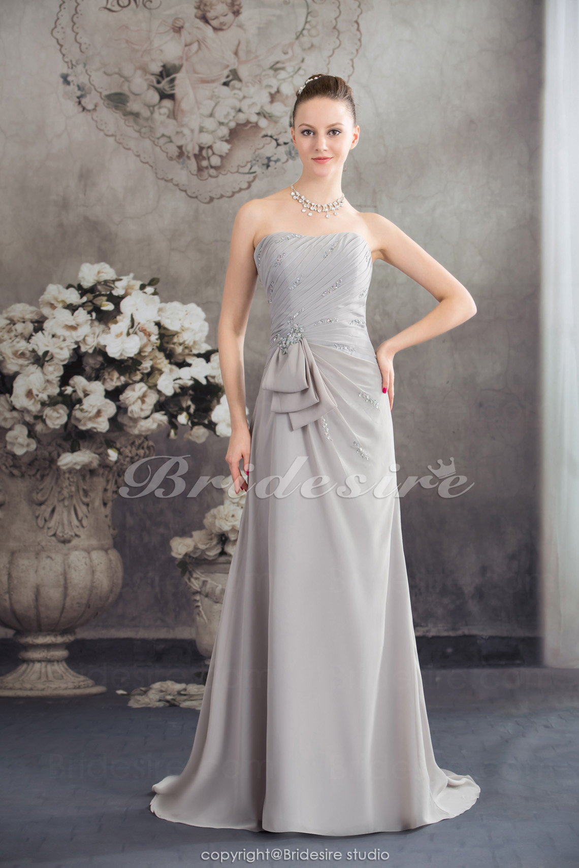 A-line Strapless Floor-length Sleeveless Chiffon Mother of the Bride Dress