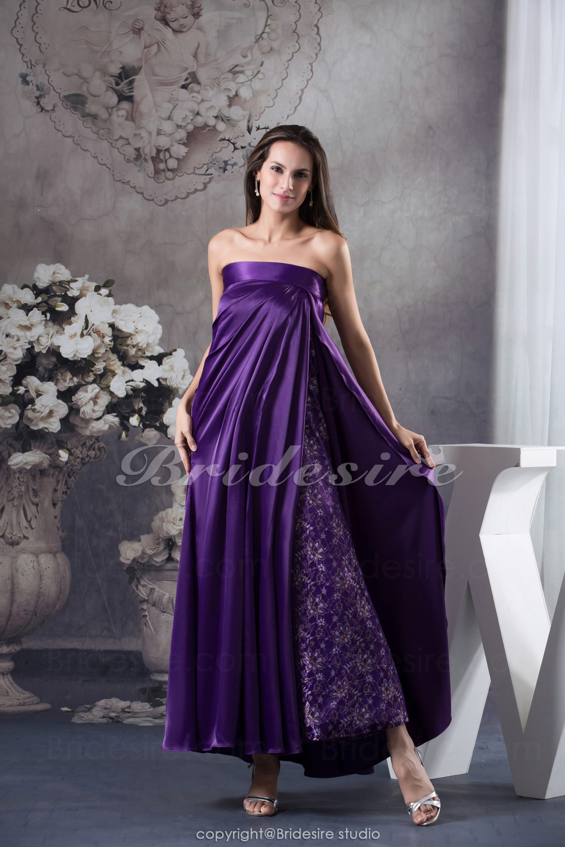 Sheath/Column Strapless Ankle-length Sleeveless Satin Dress